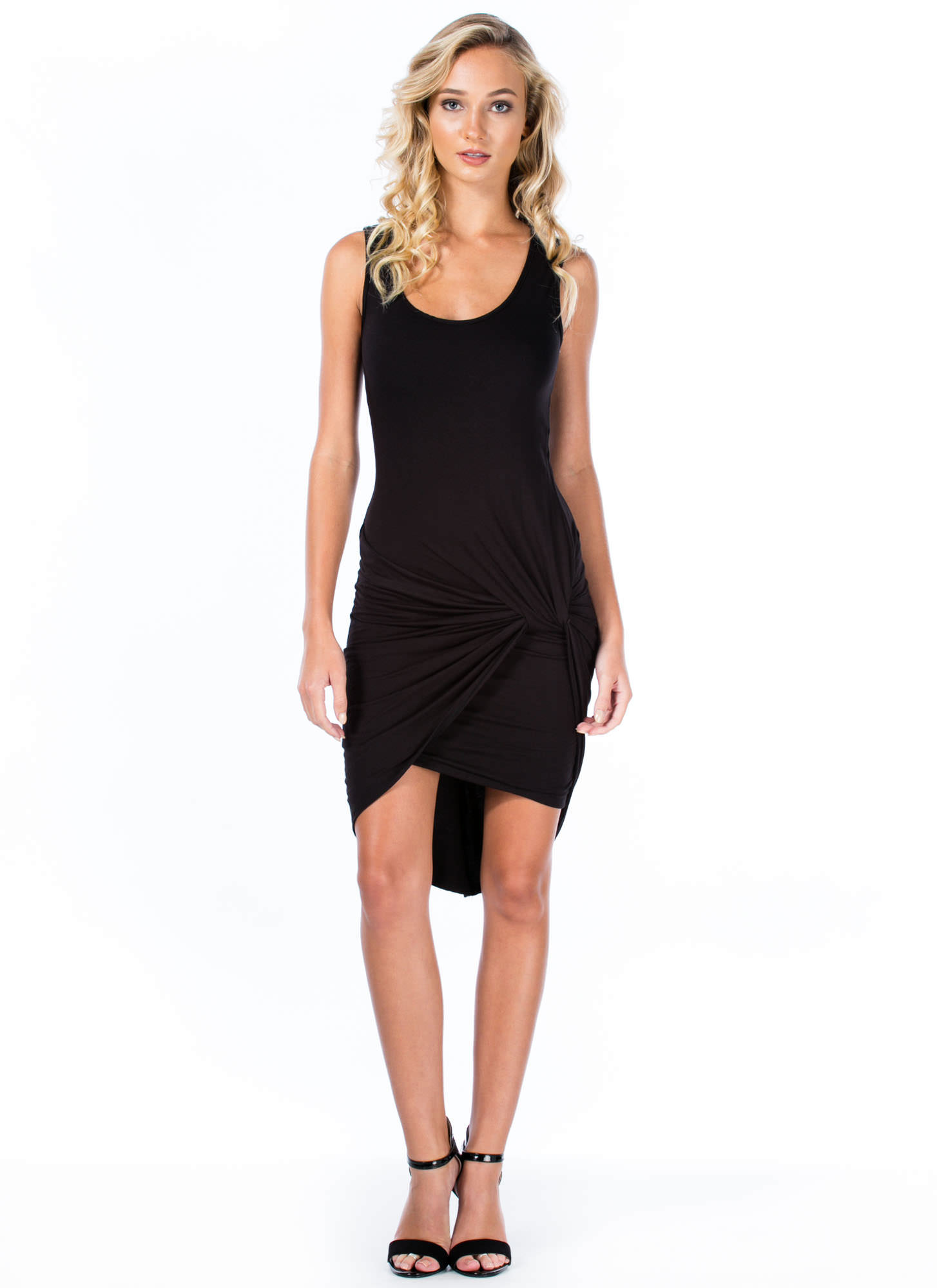 Knotty Feeling Draped Dress BLACK