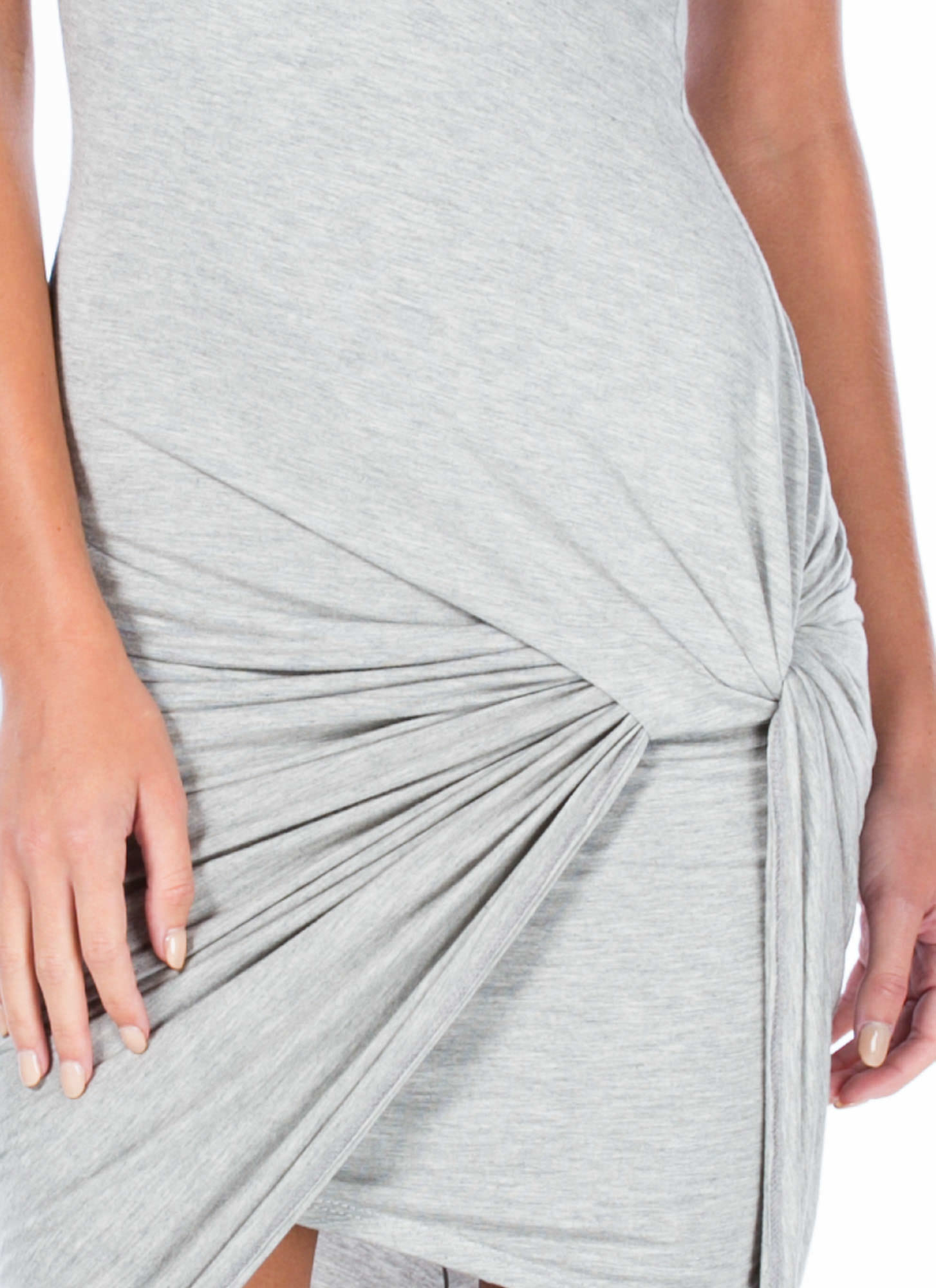 Knotty Feeling Draped Dress GREY