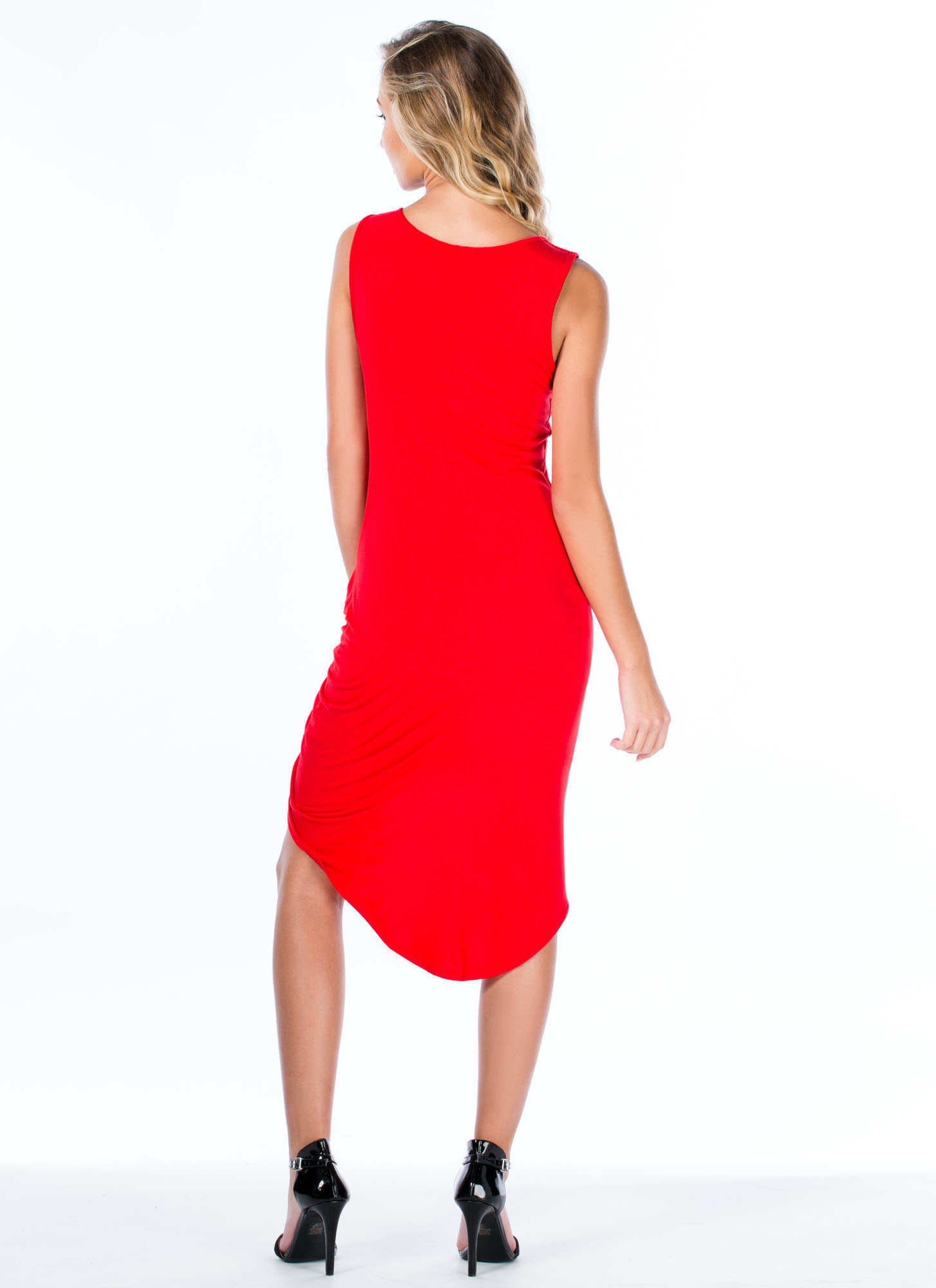 Knotty Feeling Draped Dress RED