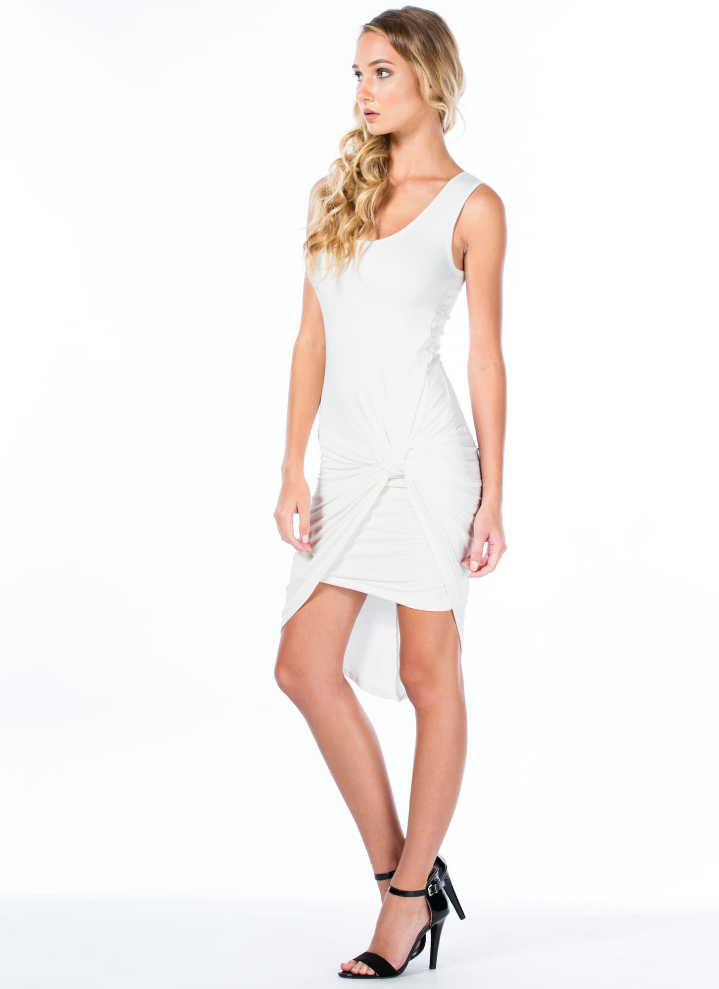 Knotty Feeling Draped Dress WHITE
