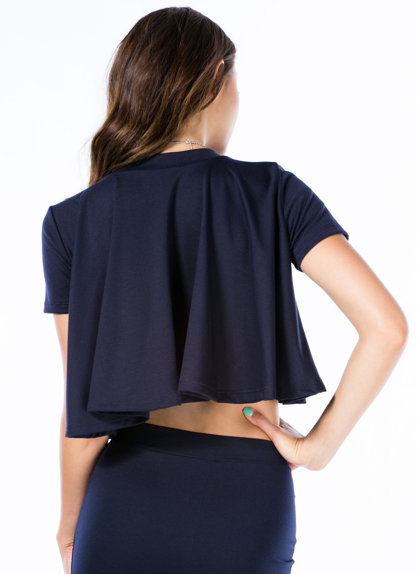 Play It Pretty Flowy Cropped Top NAVY