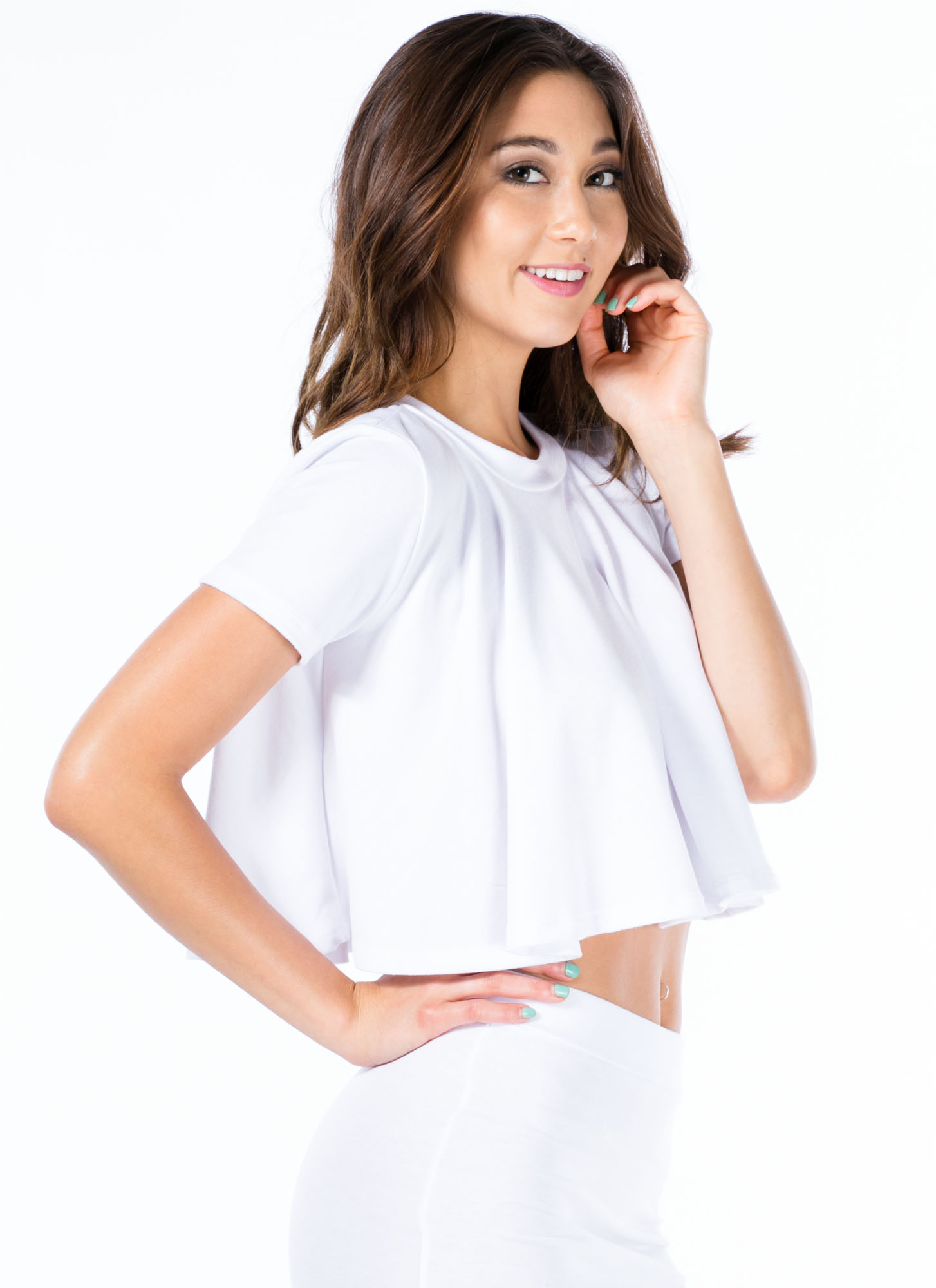 Play It Pretty Flowy Cropped Top WHITE