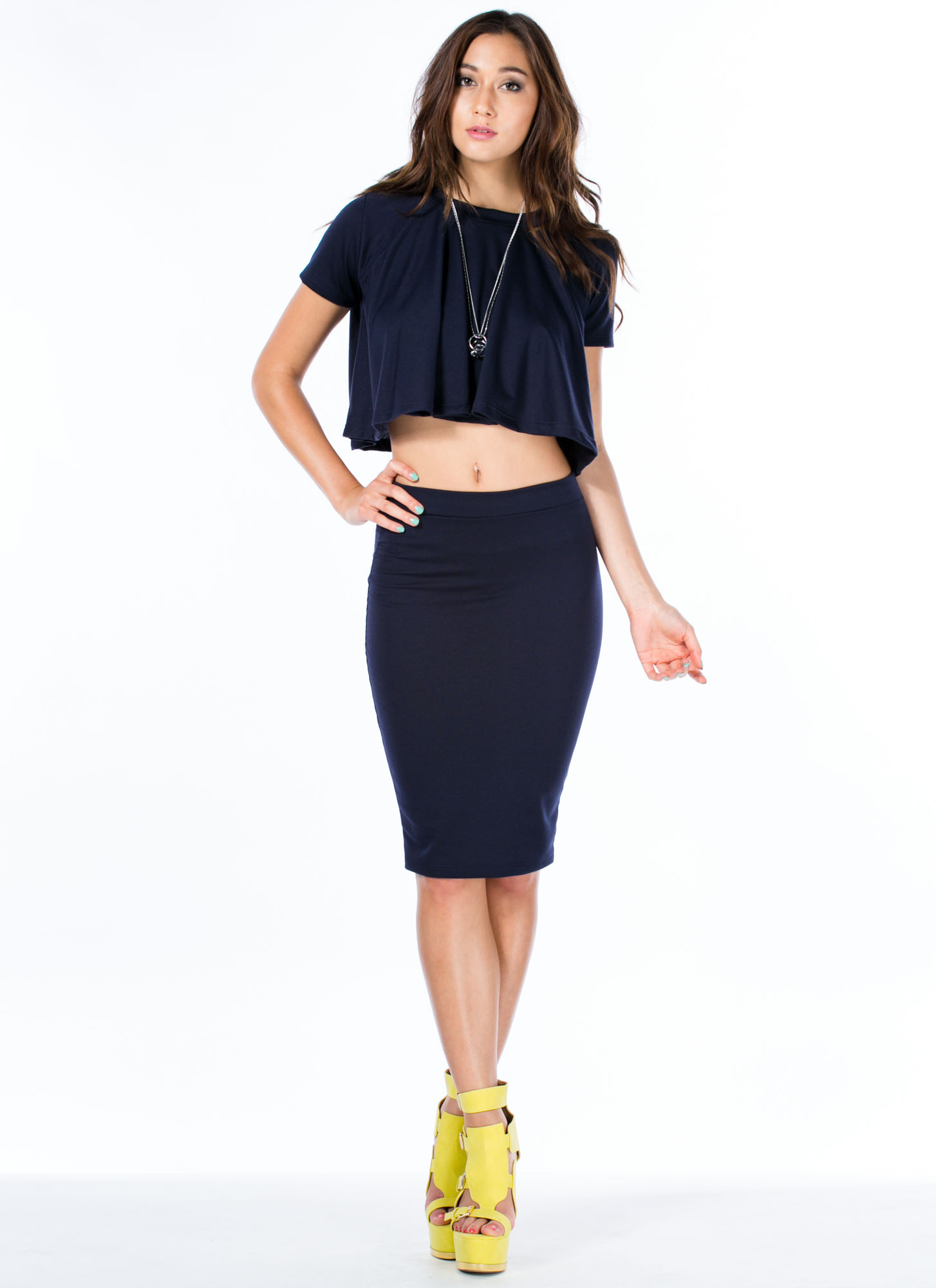 Play It Pretty Pencil Skirt NAVY