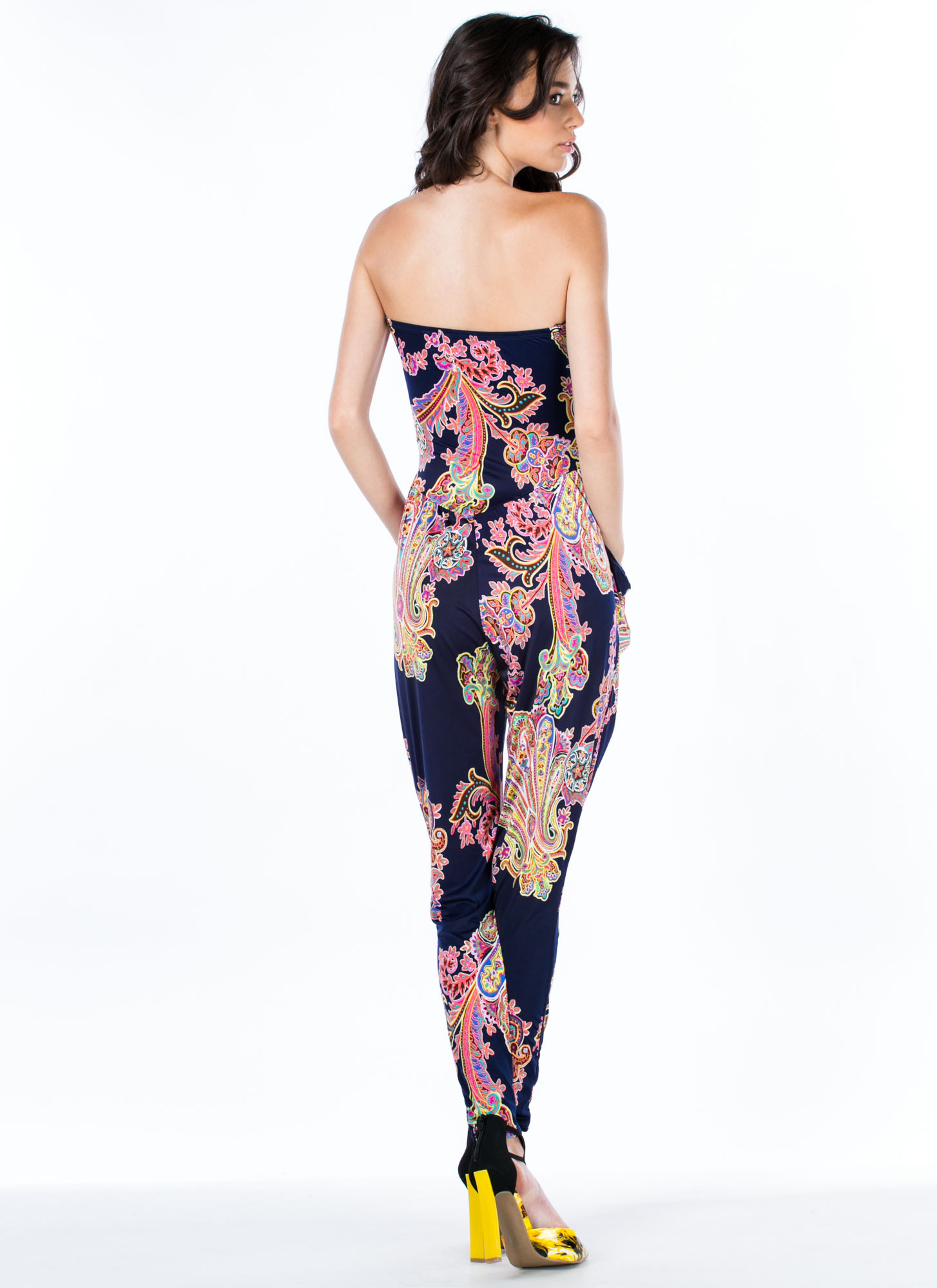 Princess Of Paisley Strapless Jumpsuit NAVY