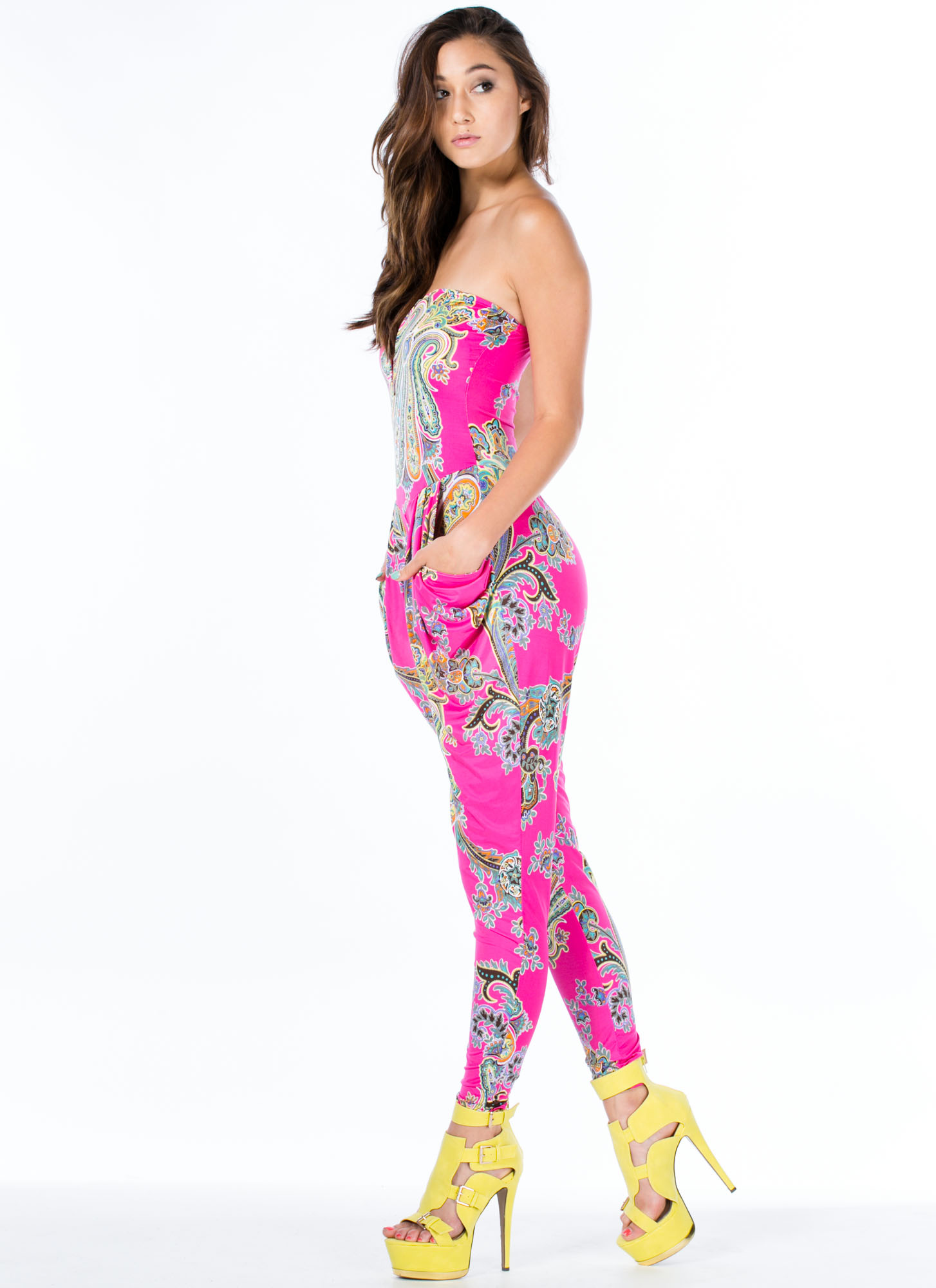 Princess Of Paisley Strapless Jumpsuit PINK