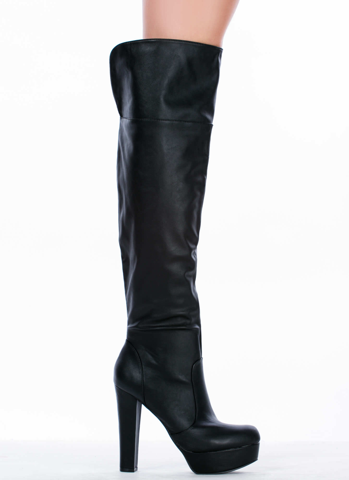 Made 4 Walking Faux Leather Platform Boots BLACK