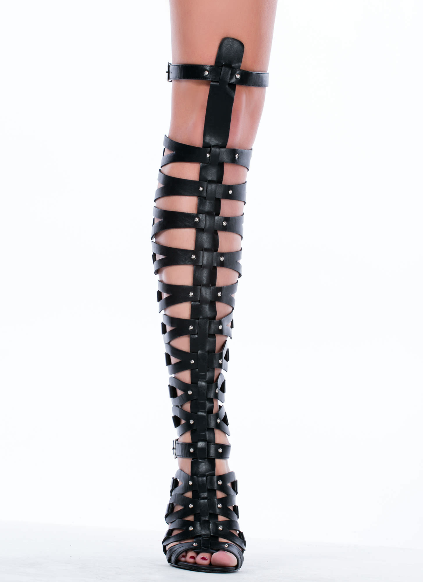 All Looped Up Strappy Gladiator Heels BLACK