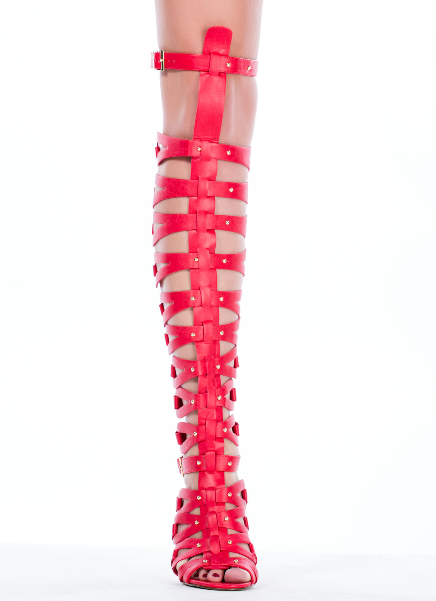 All Looped Up Strappy Gladiator Heels POMEGRANATE (Final Sale)