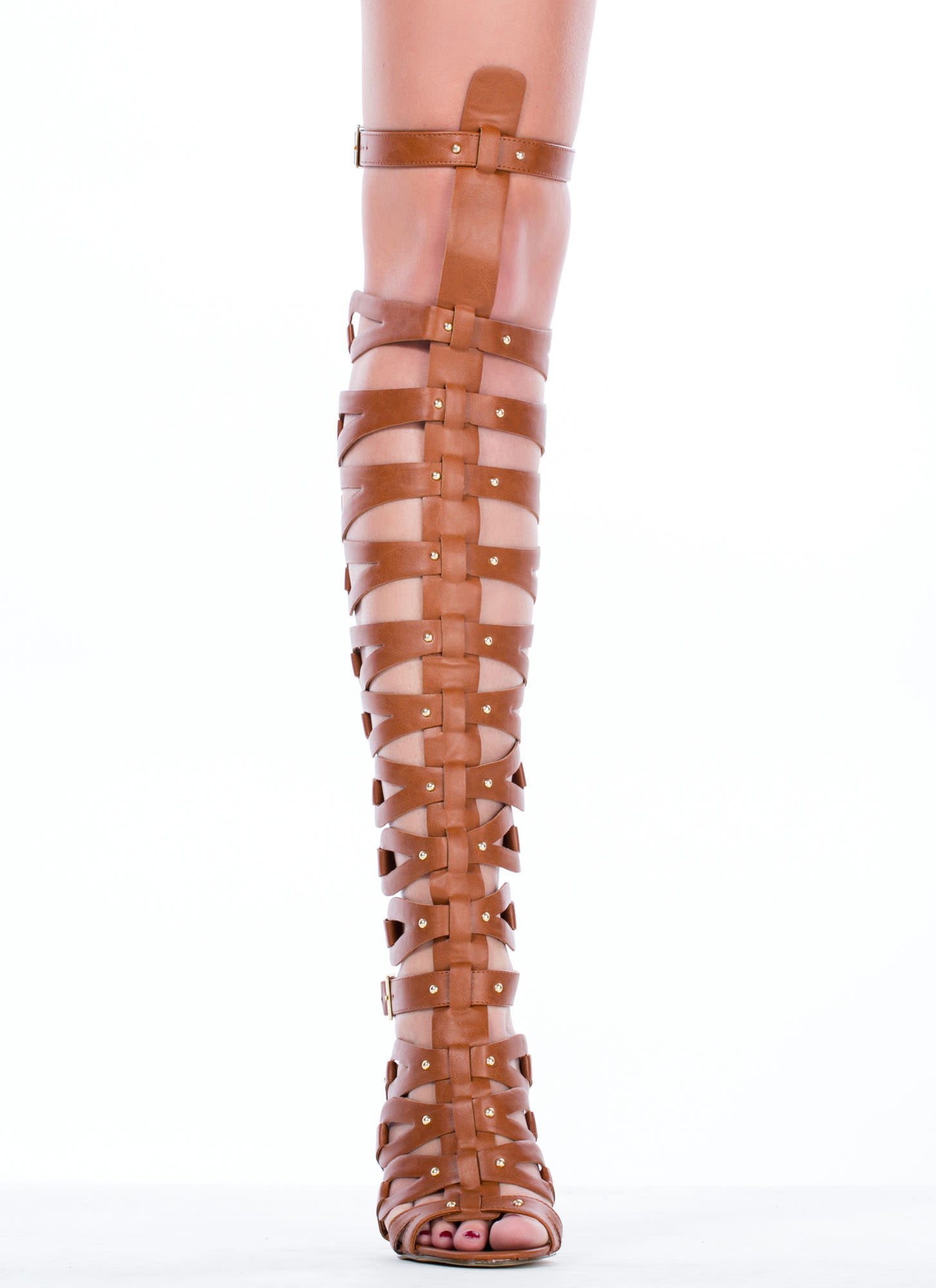 All Looped Up Strappy Gladiator Heels TAN