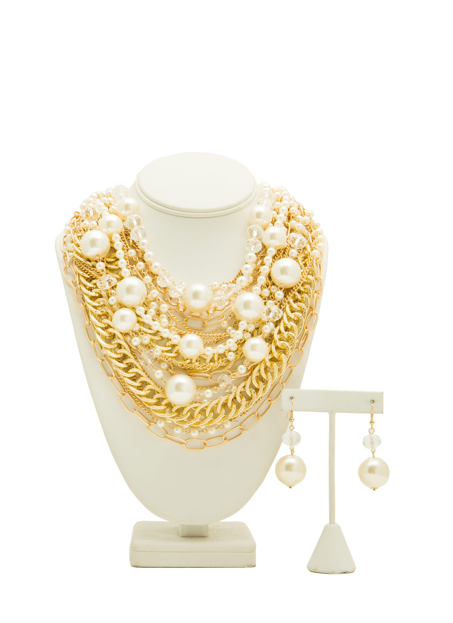 Faux Pearl Bauble Necklace Set IVORYGOLD