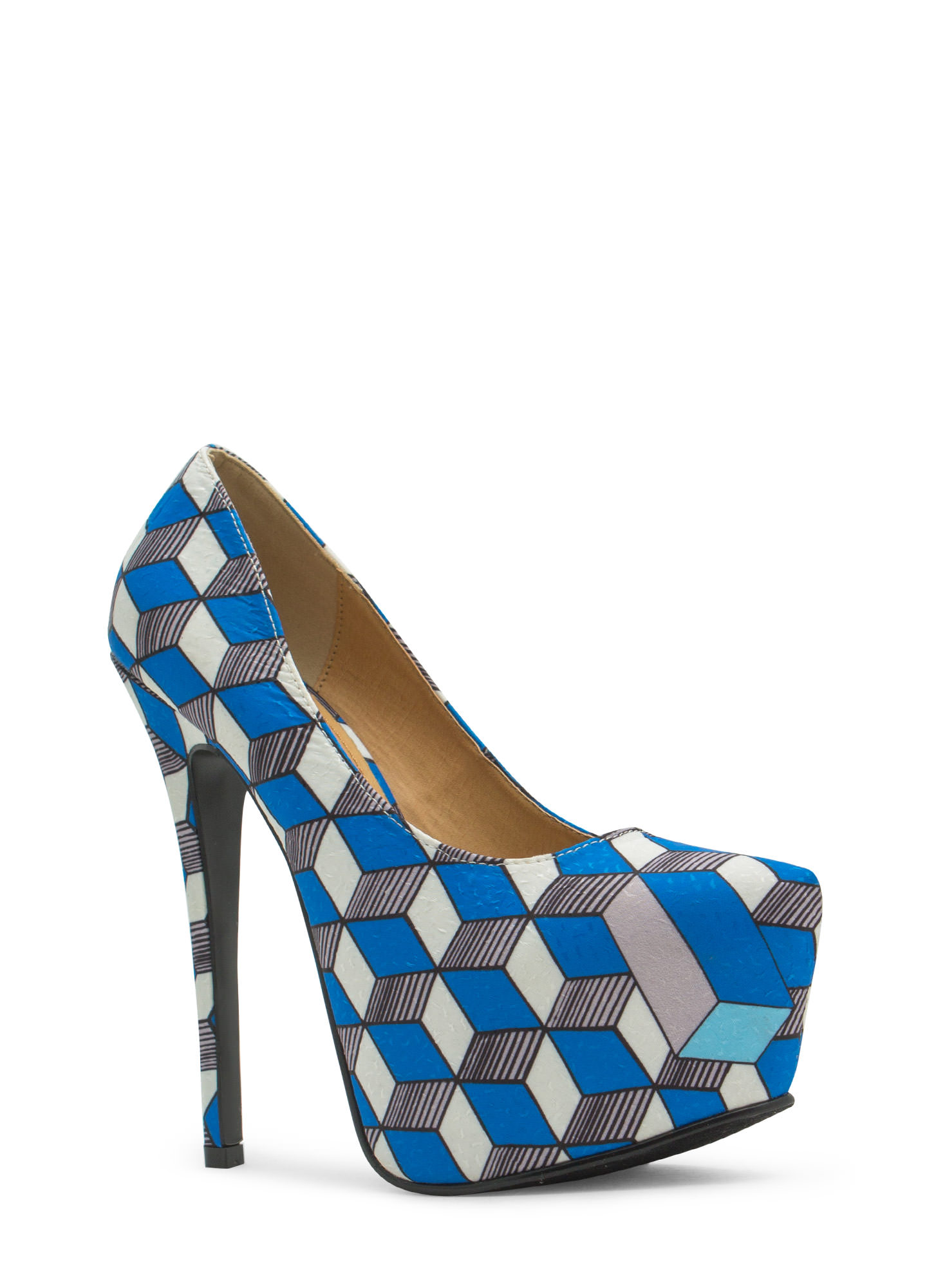 Three Dimensional Geo Platform Heels BLUE (Final Sale)