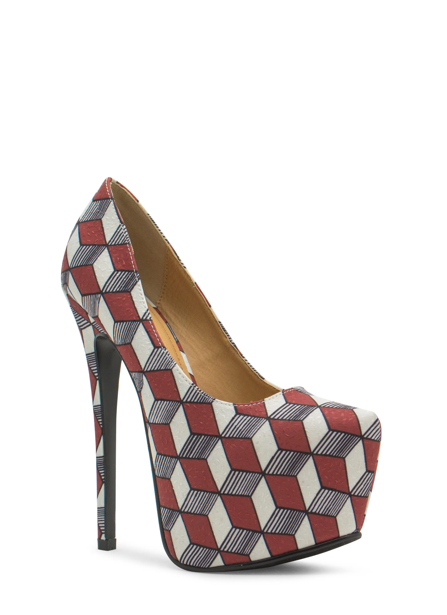 Three Dimensional Geo Platform Heels BROWN (Final Sale)