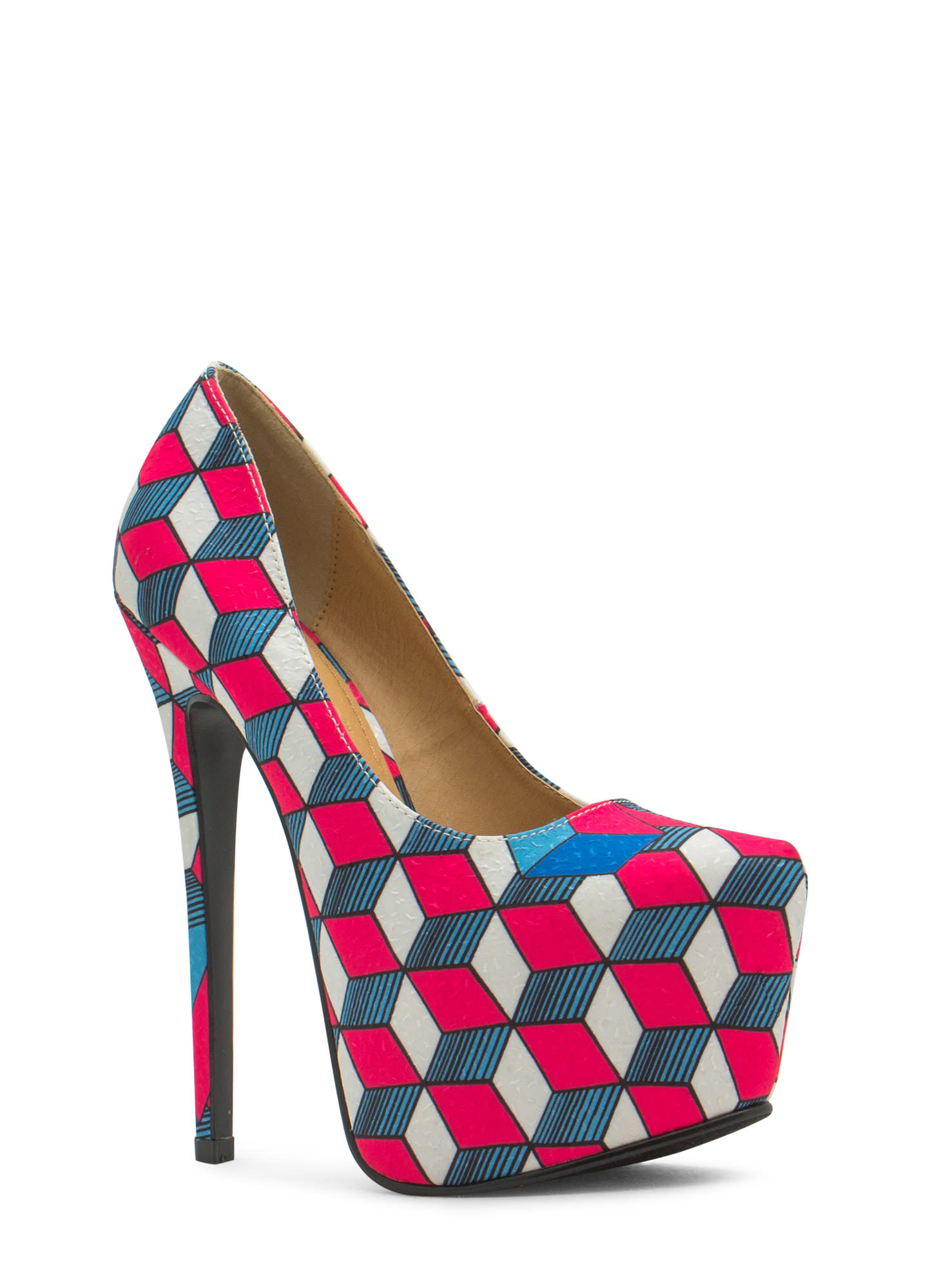 Three Dimensional Geo Platform Heels FUCHSIA (Final Sale)