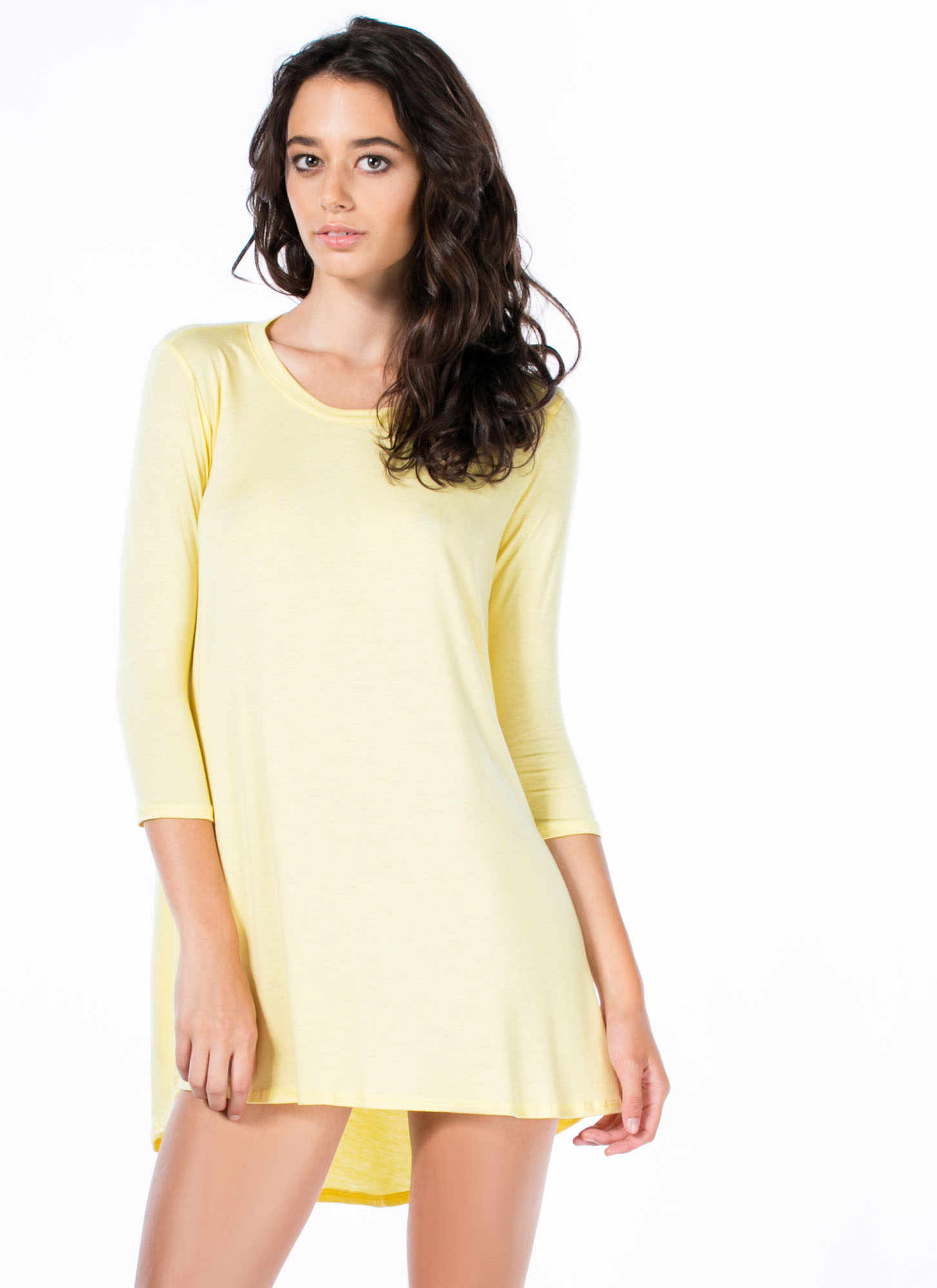 To The Tee Shirt Tunic Dress YELLOW
