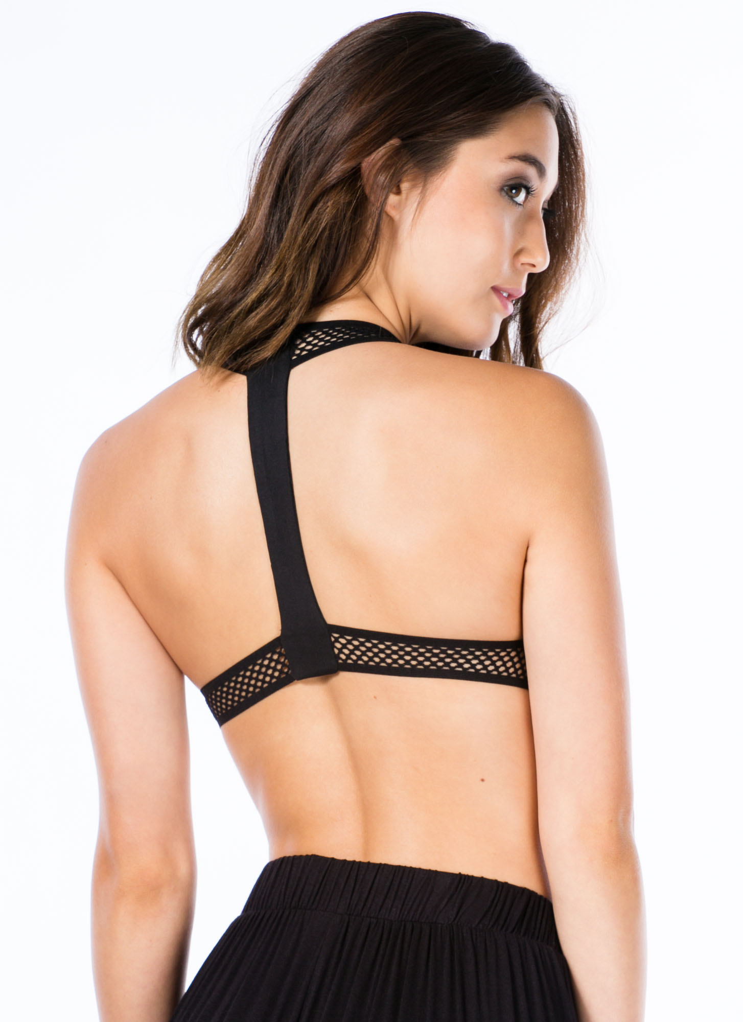 Mesh With You T-Back Bra Top BLACK