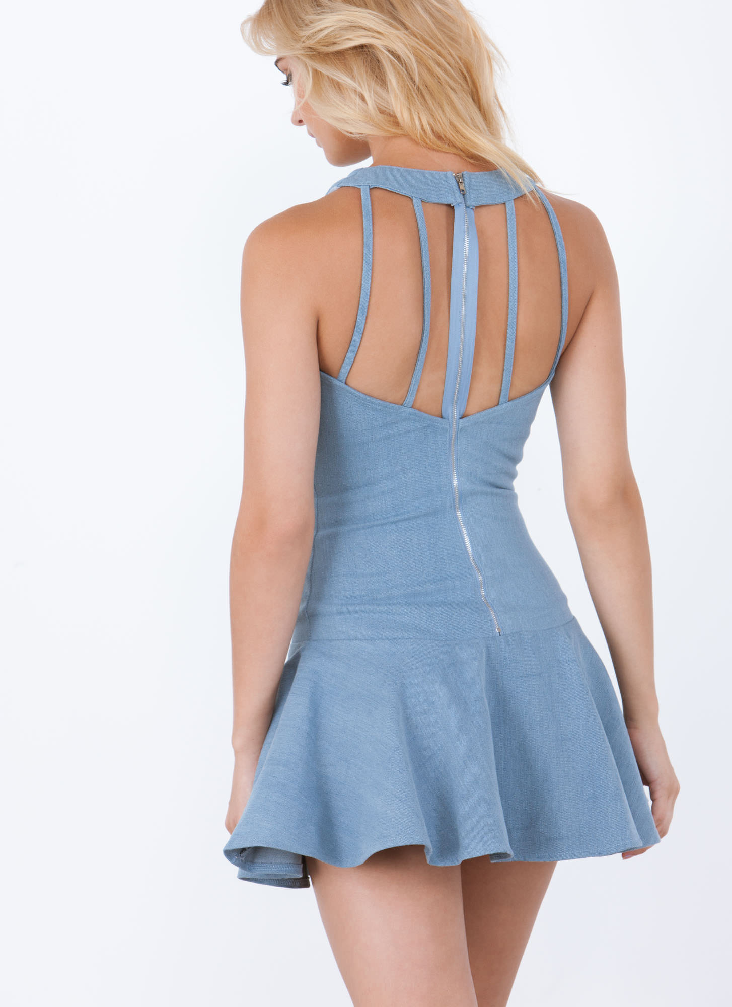 Pep-Lum In Ur Step Chambray Dress BLUE