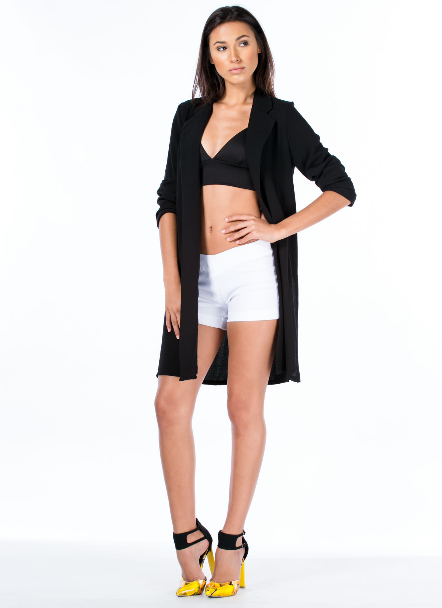 Textured Long Blazer BLACK