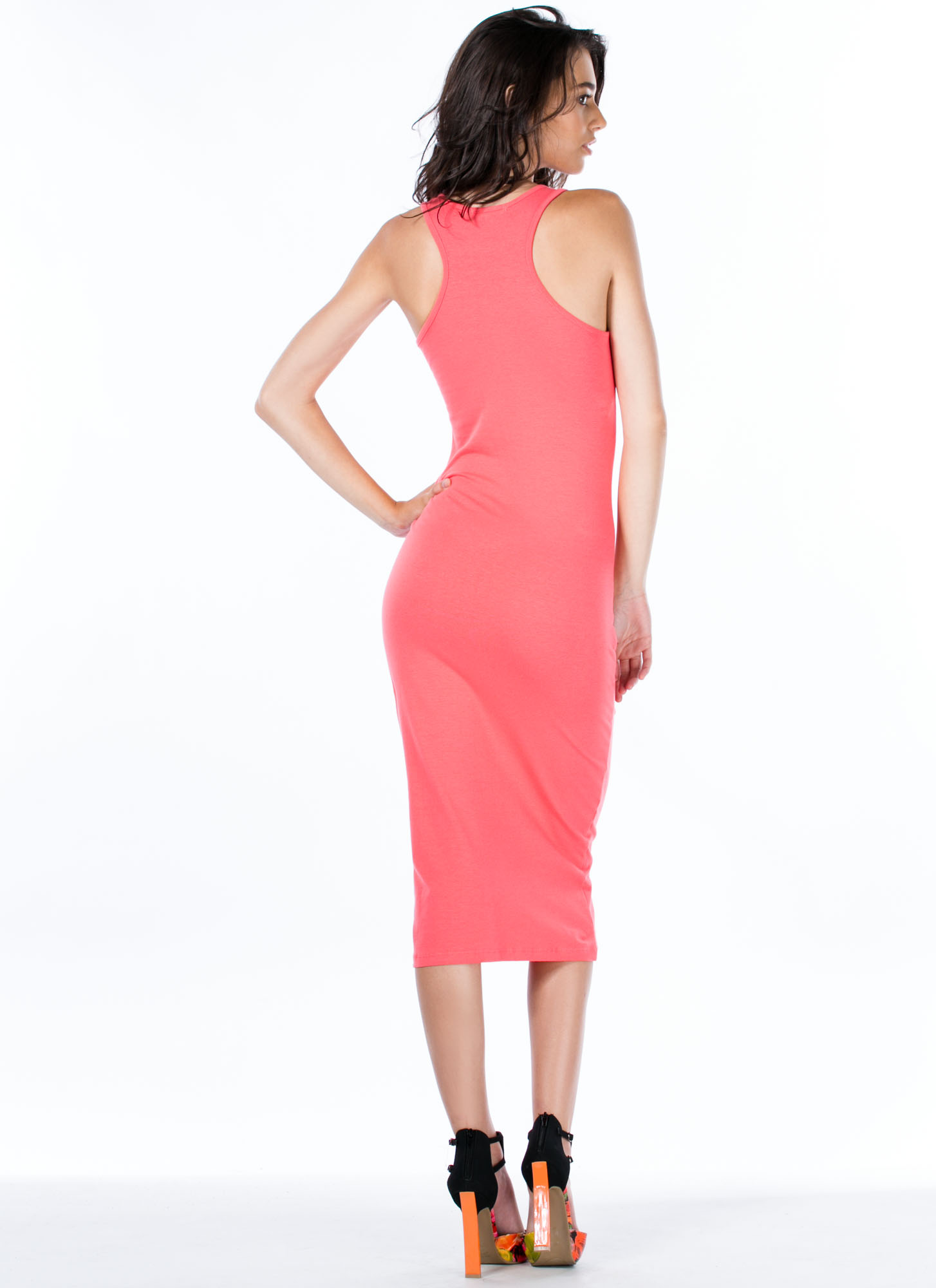 Solid Ground Racerback Midi Tank Dress CORAL