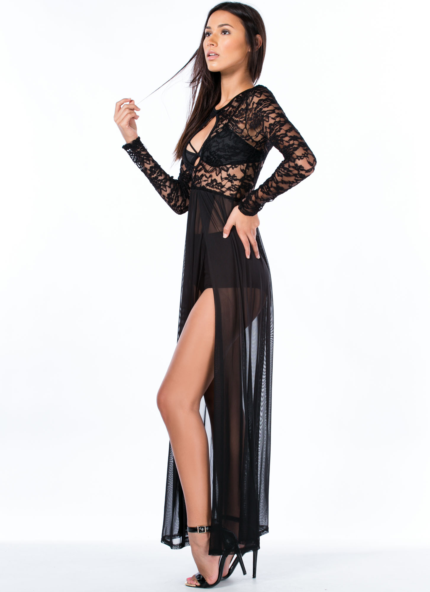 So Transparent Lace And Mesh Slit Maxi BLACK