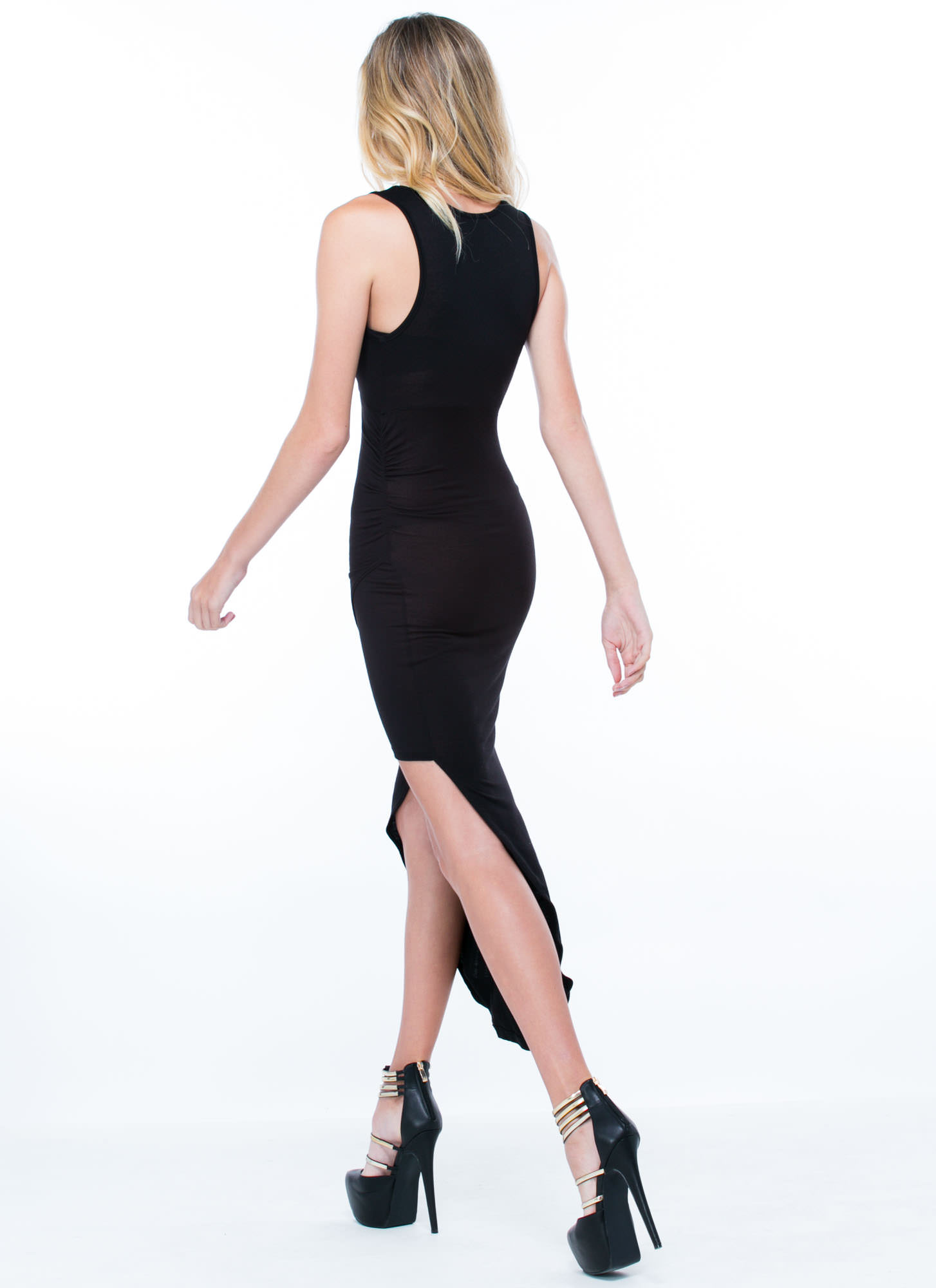 Do Get It Twisted Asymmetrical Dress BLACK