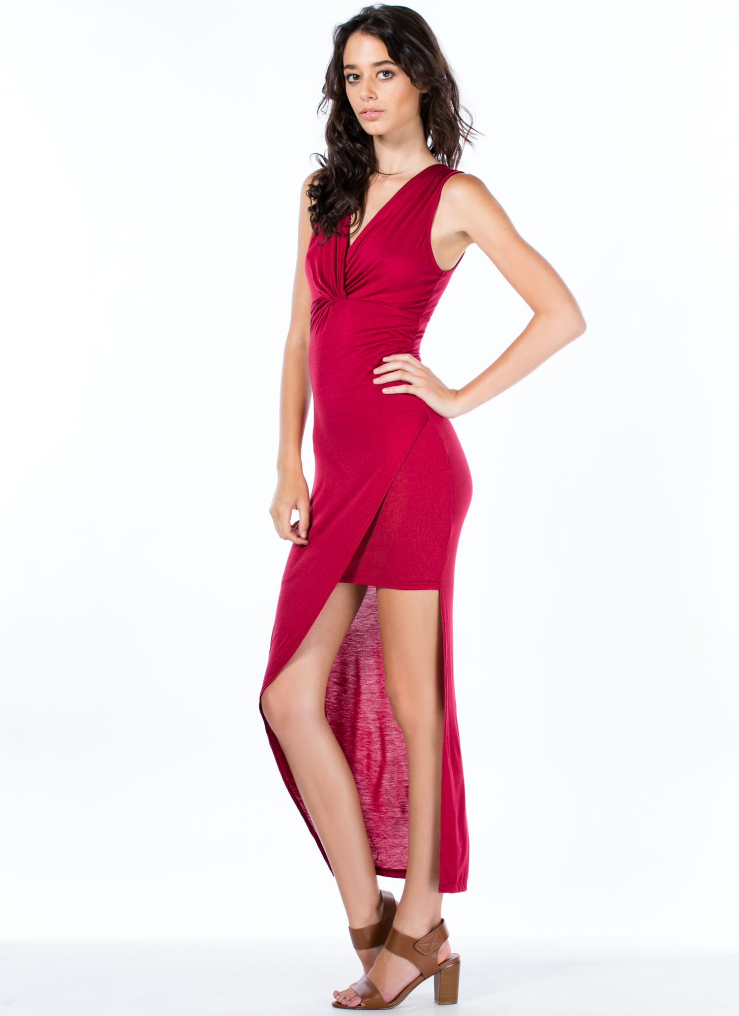 Do Get It Twisted Asymmetrical Dress BURGUNDY