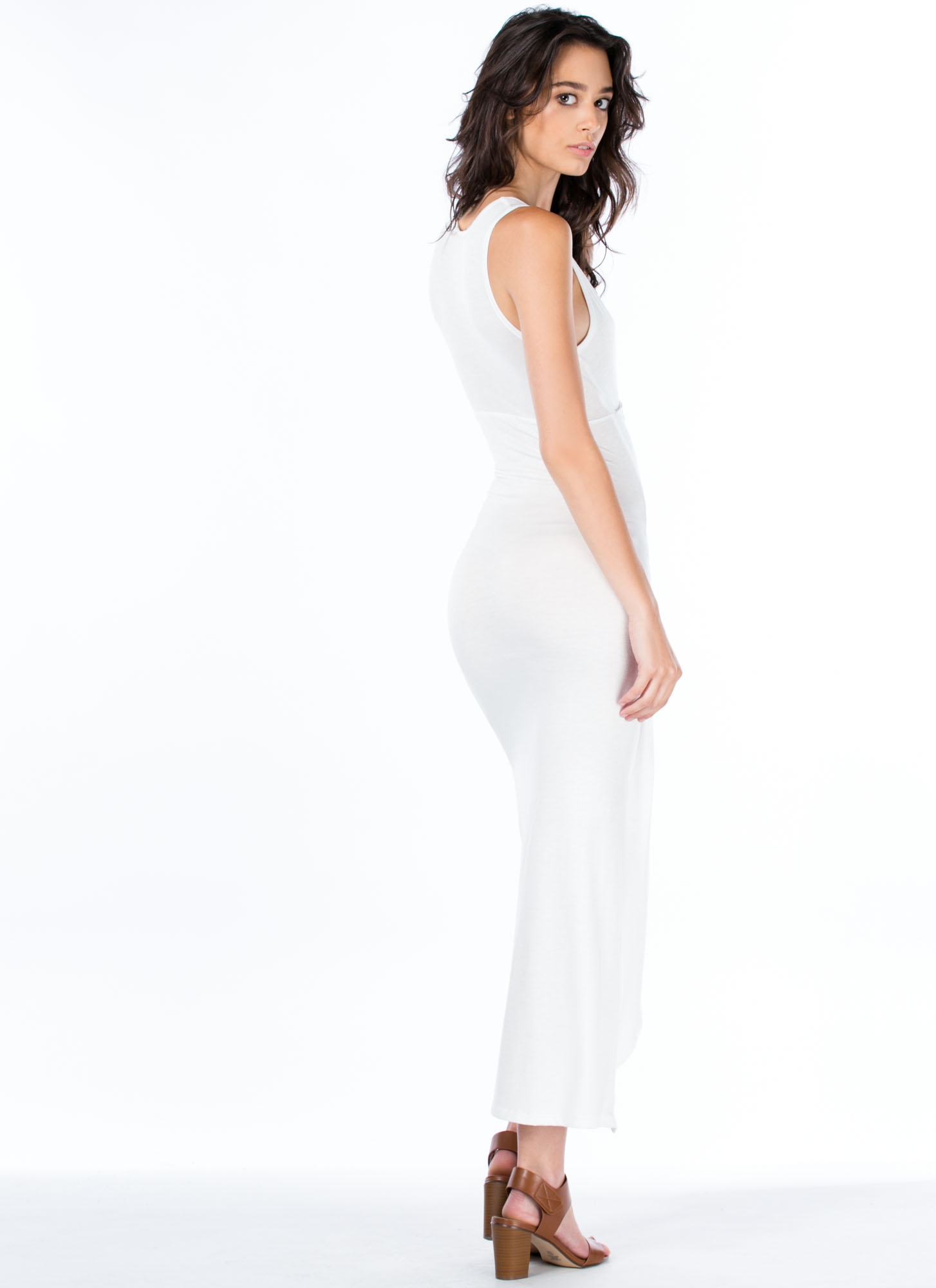 Do Get It Twisted Asymmetrical Dress IVORY