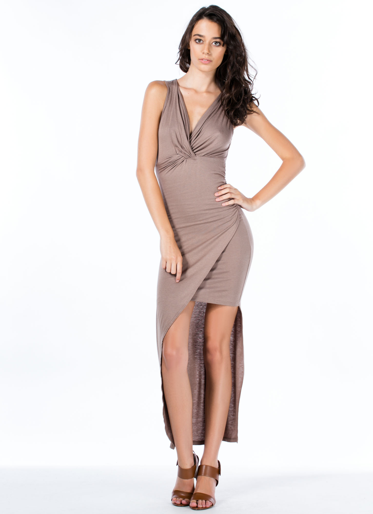 Do Get It Twisted Asymmetrical Dress MOCHA