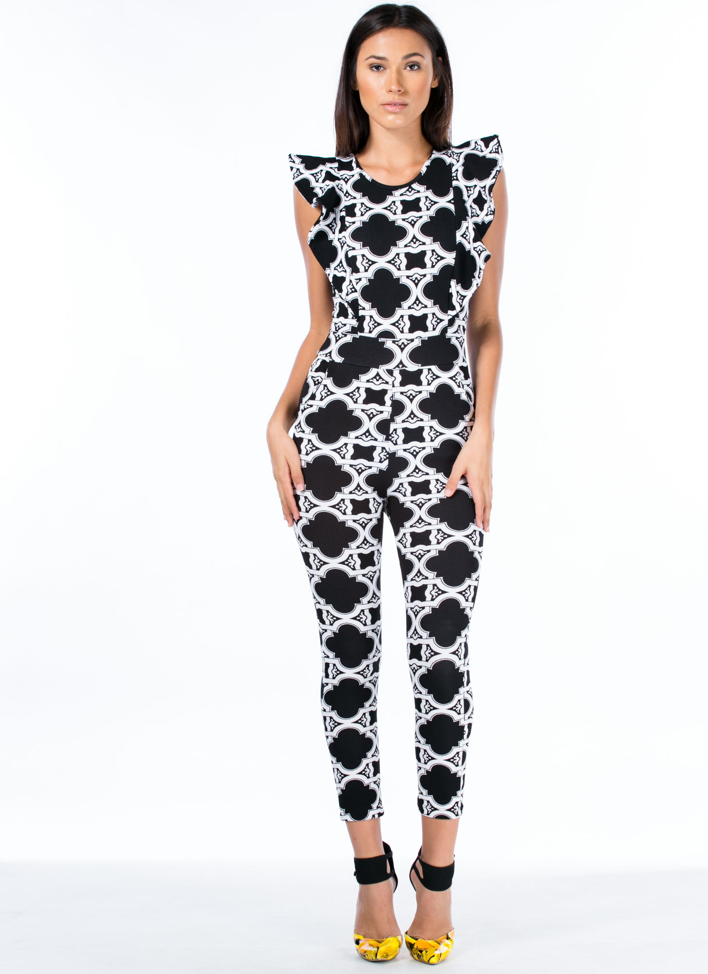 Come On Clover Ruffle Sleeve Jumpsuit BLACK