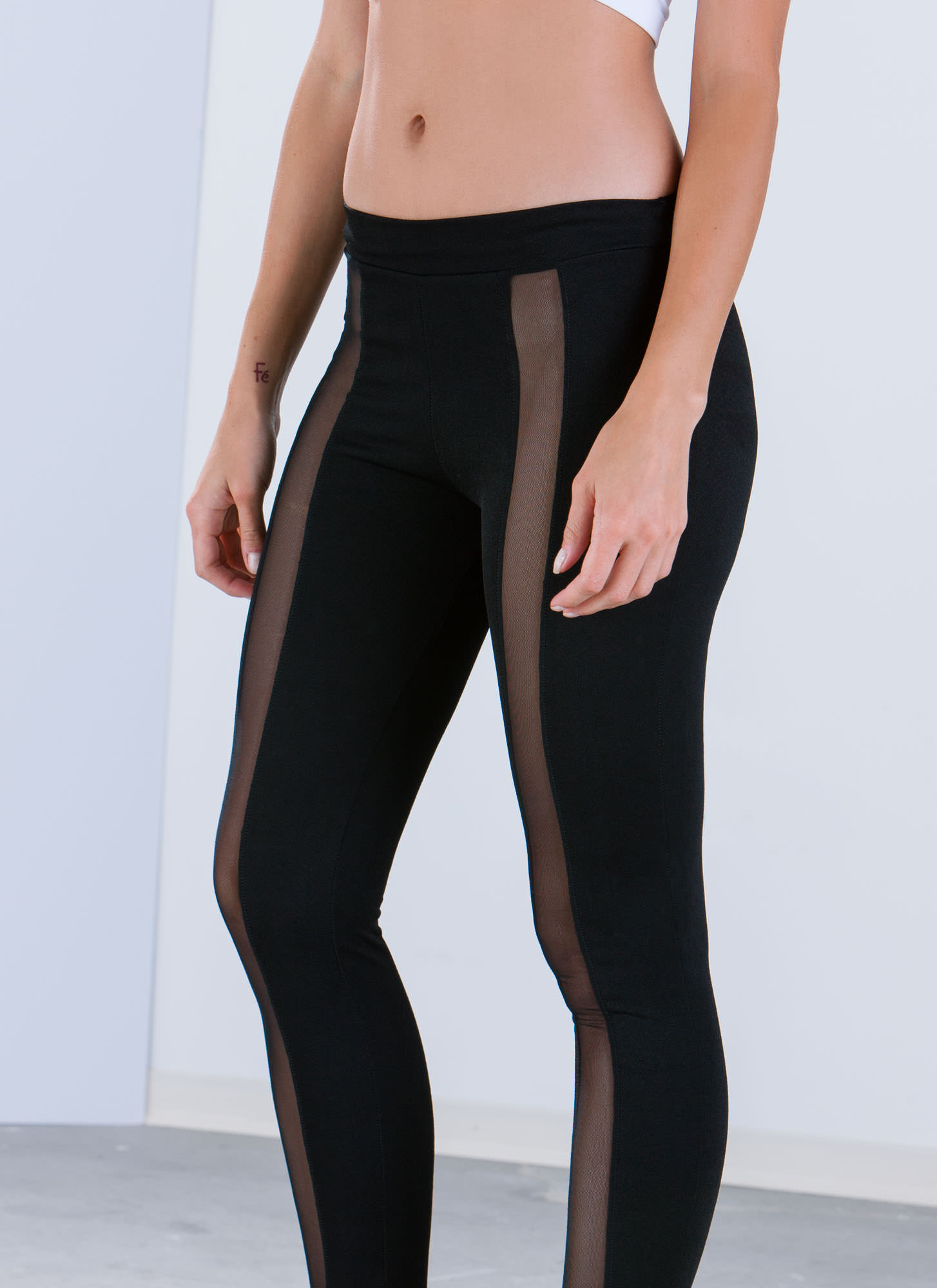 Mesh Strip Inset Leggings BLACK