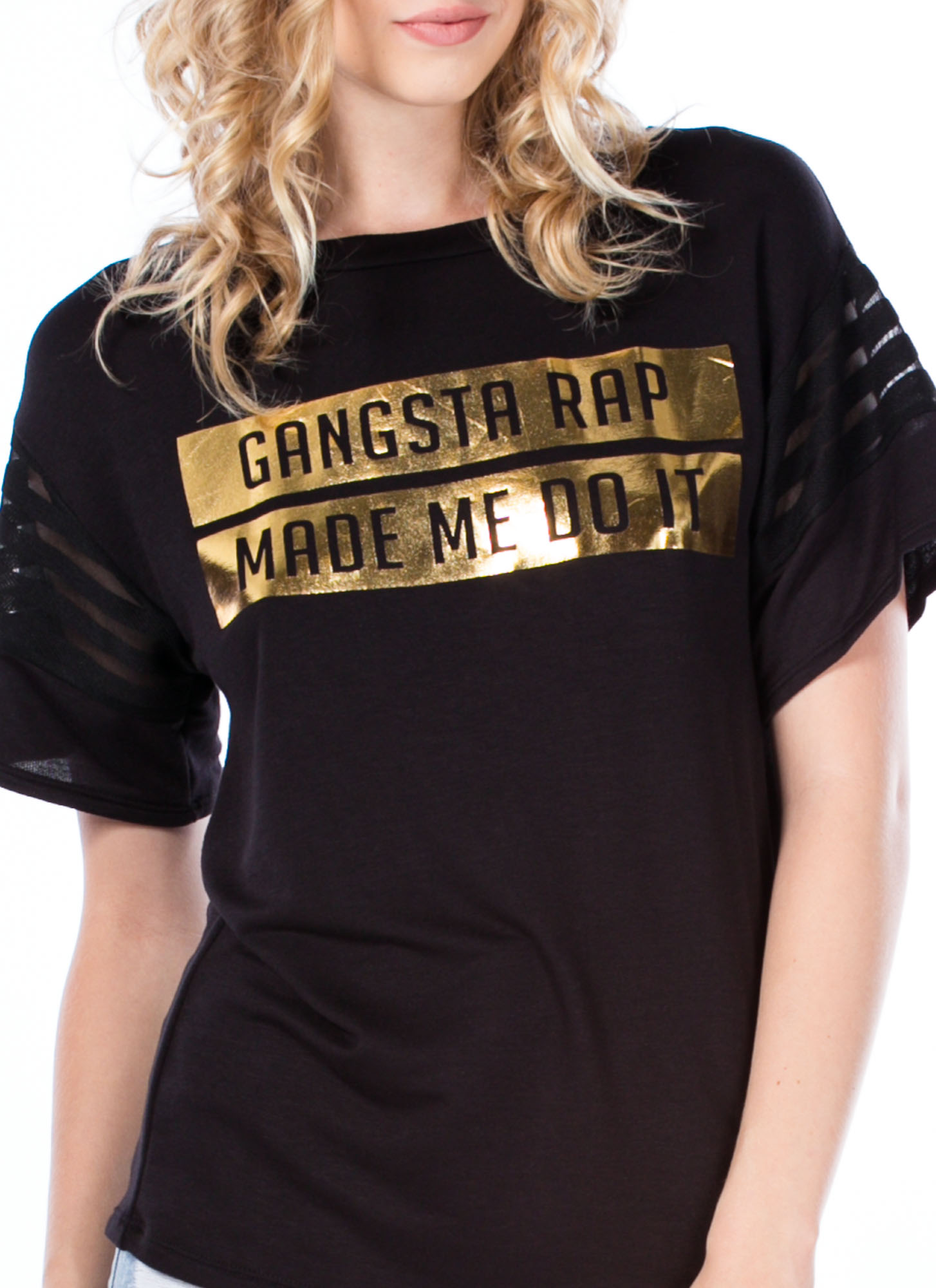 Gangsta Rap Made Me Do It Graphic Tee BLACK