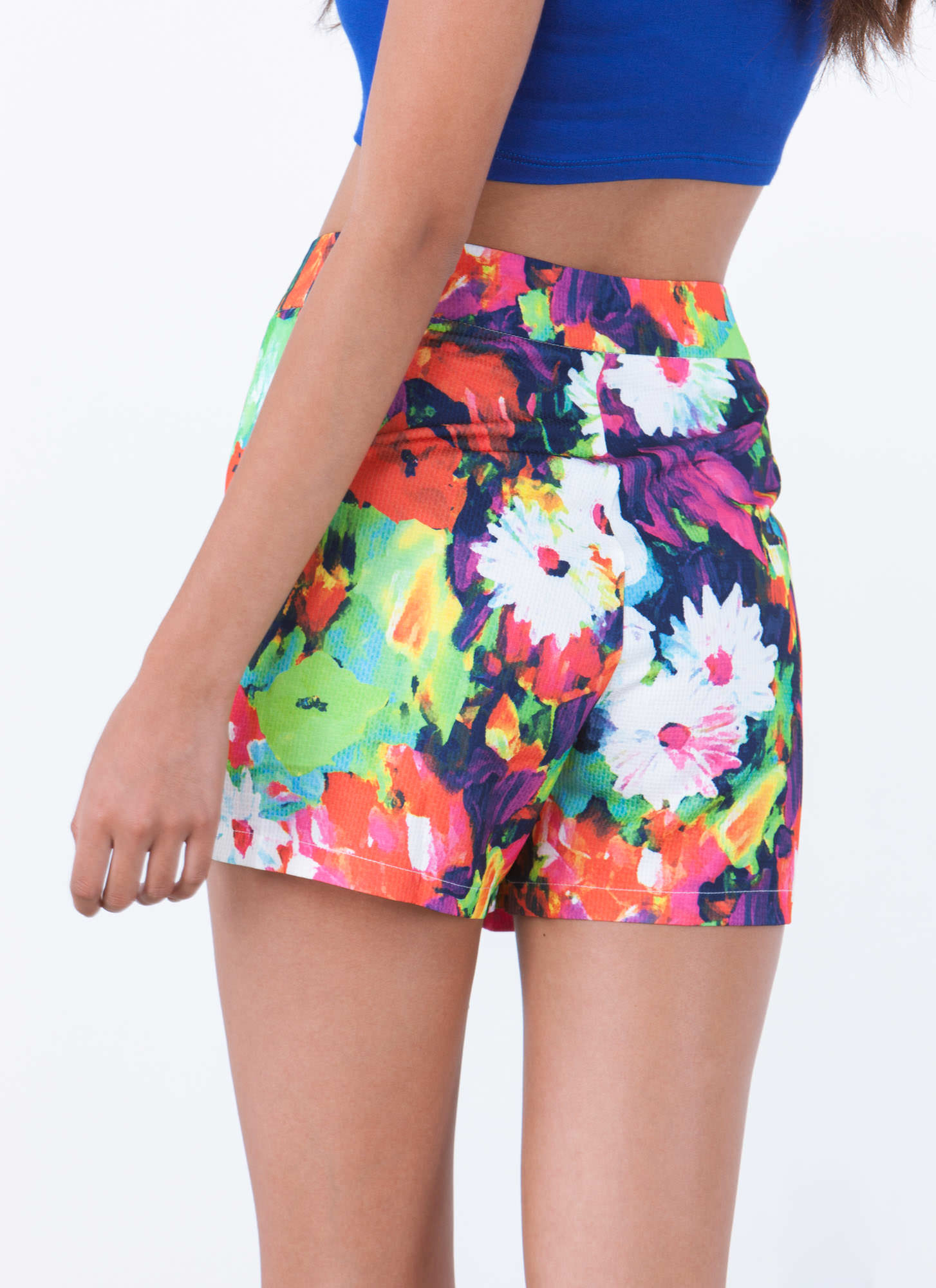 Good Impressionist Painted Floral Shorts MULTI