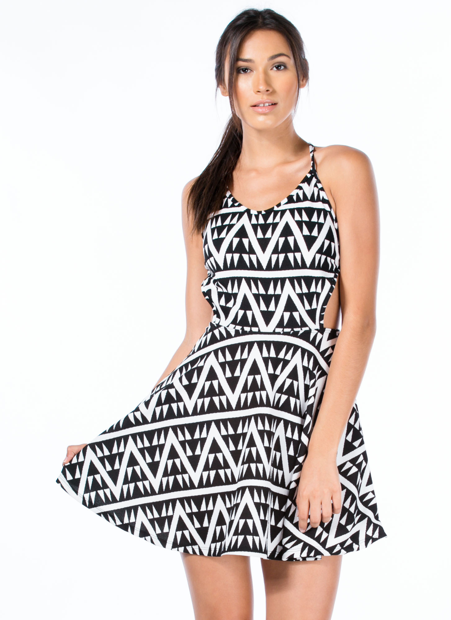 Geometric Zigzag Crossed Skater Dress BLACKWHITE
