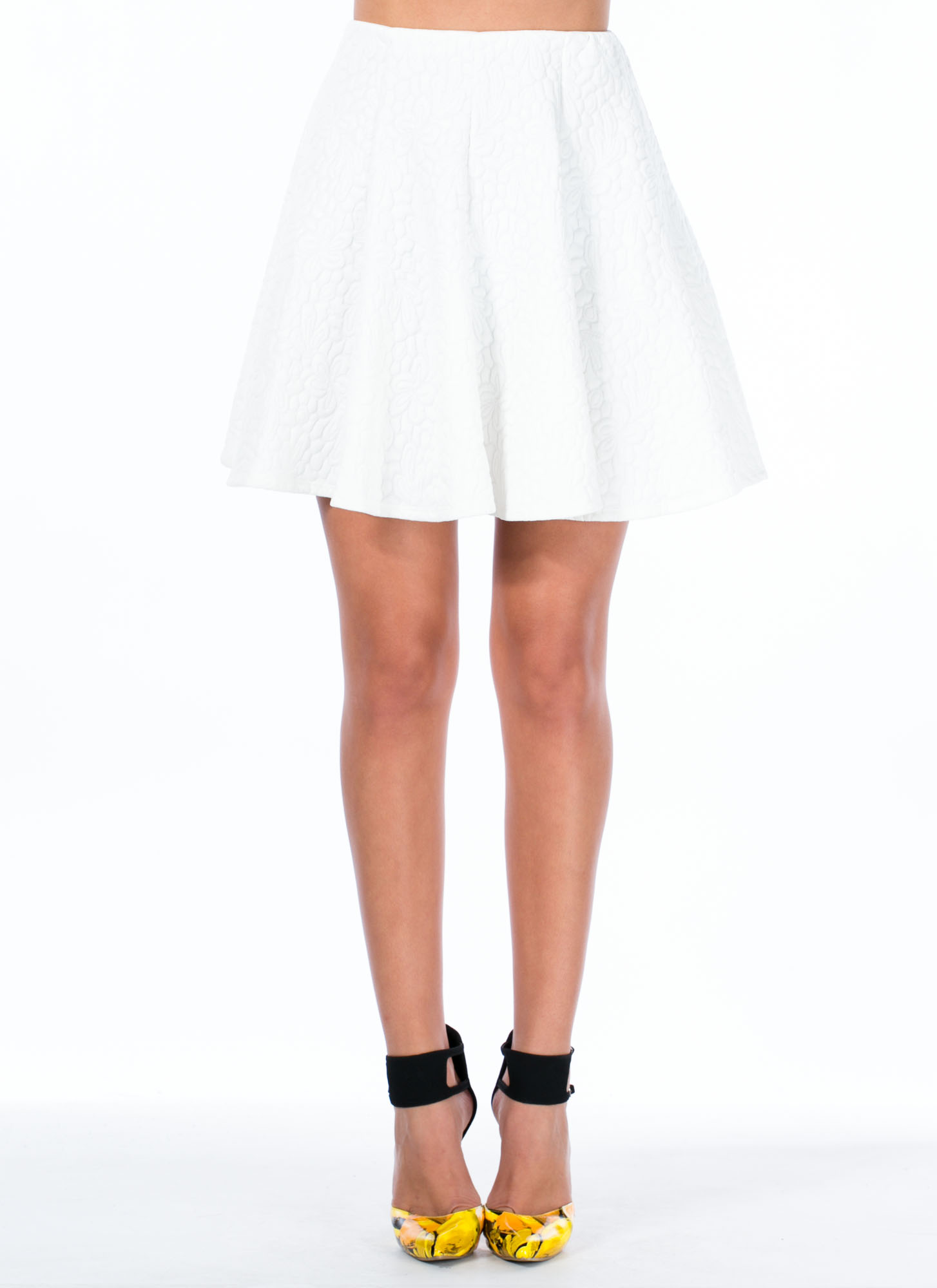 Sheen-Stealer Embossed Skater Skirt WHITE