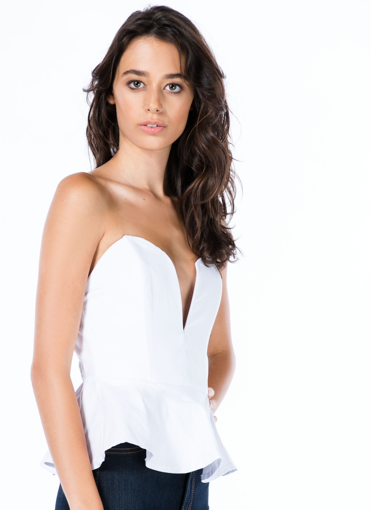 Not A Sweetheart Peplum Tube Top WHITE