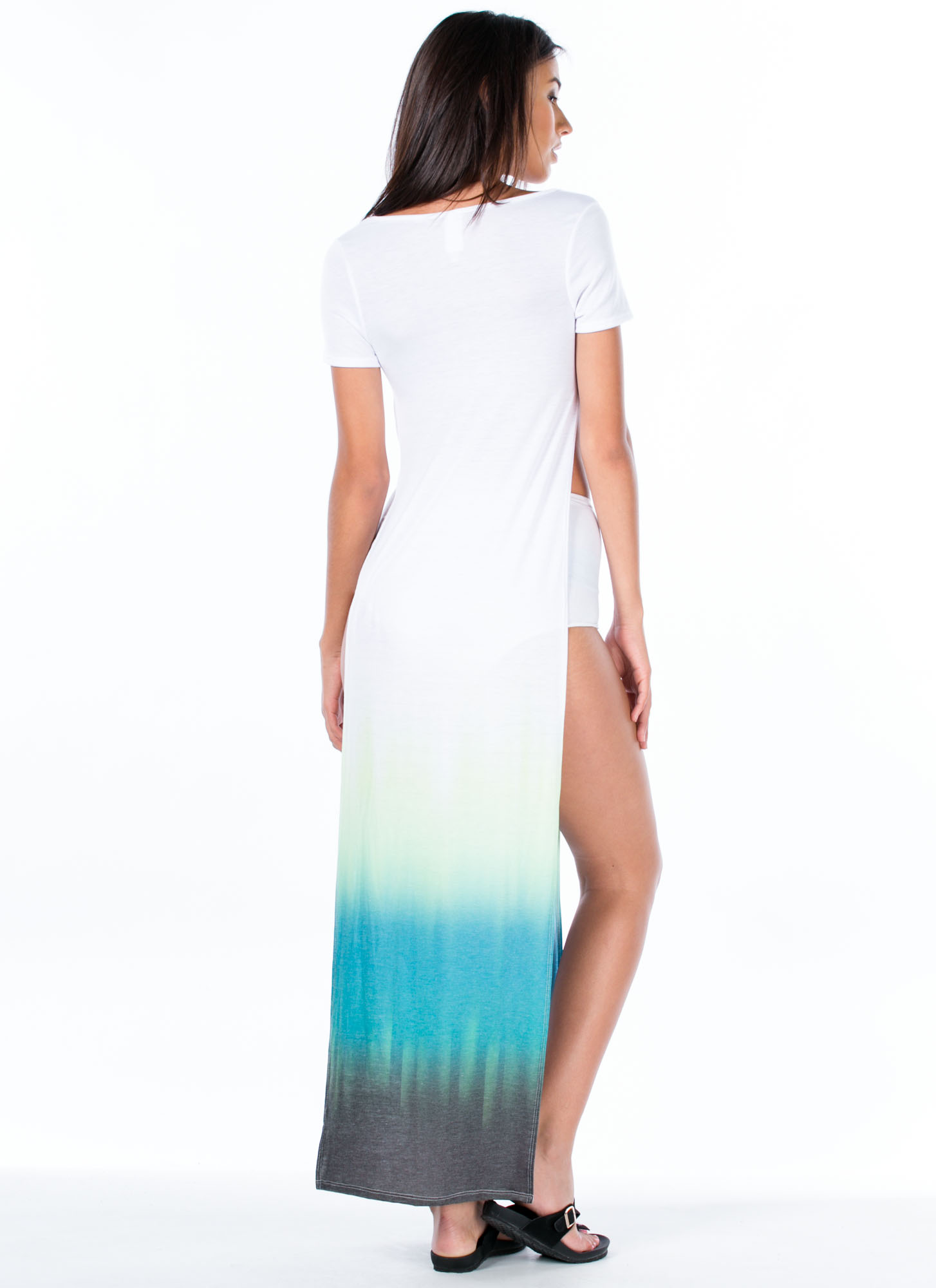 Ombre Double Slit Maxi Dress GREEN