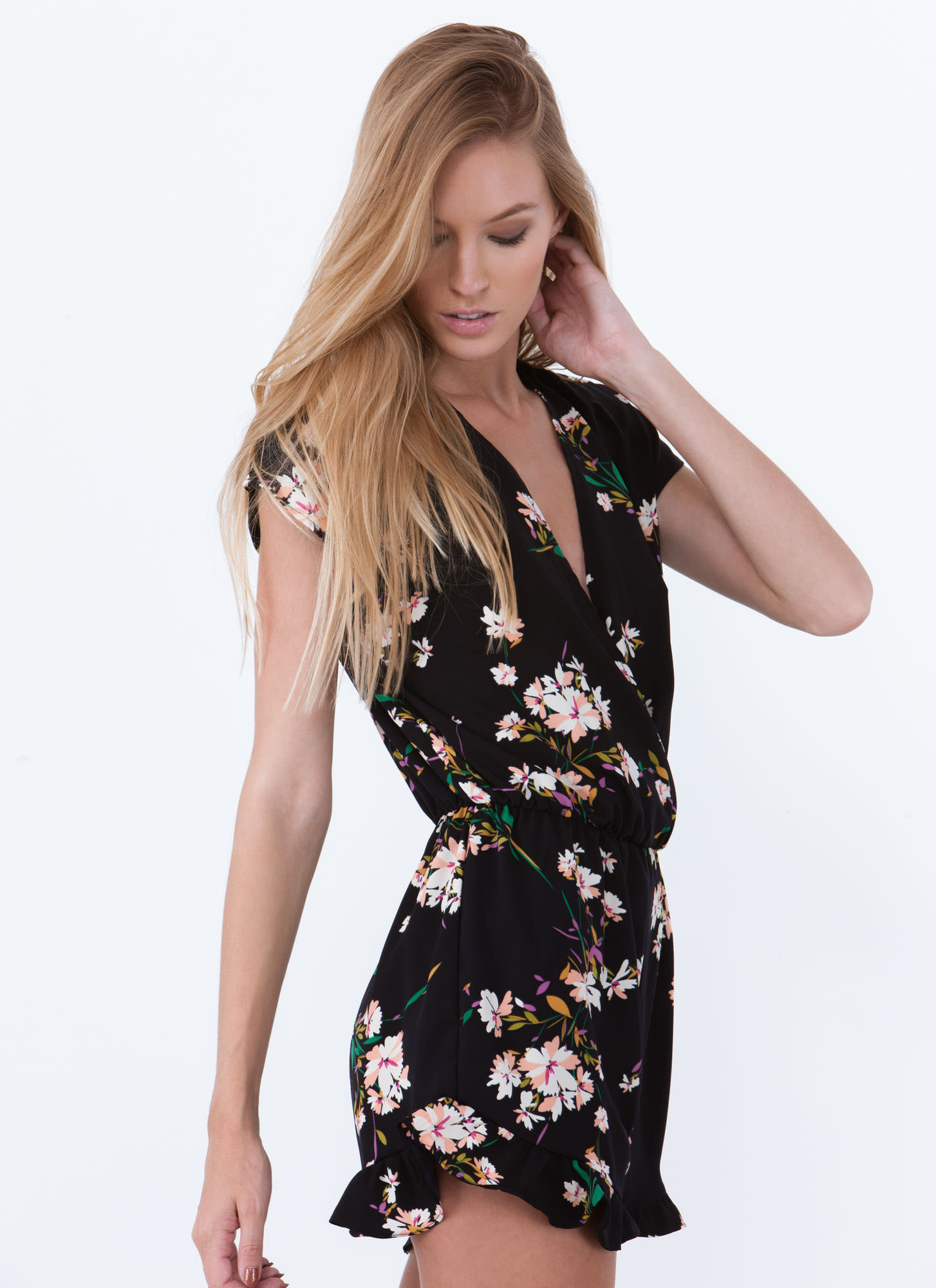 Floral Plunging Surplice Romper NAVY