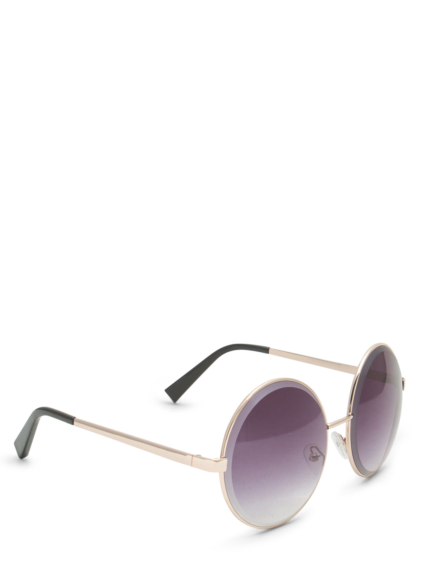 Round Metallic Wire Frame Sunglasses GOLDGREY