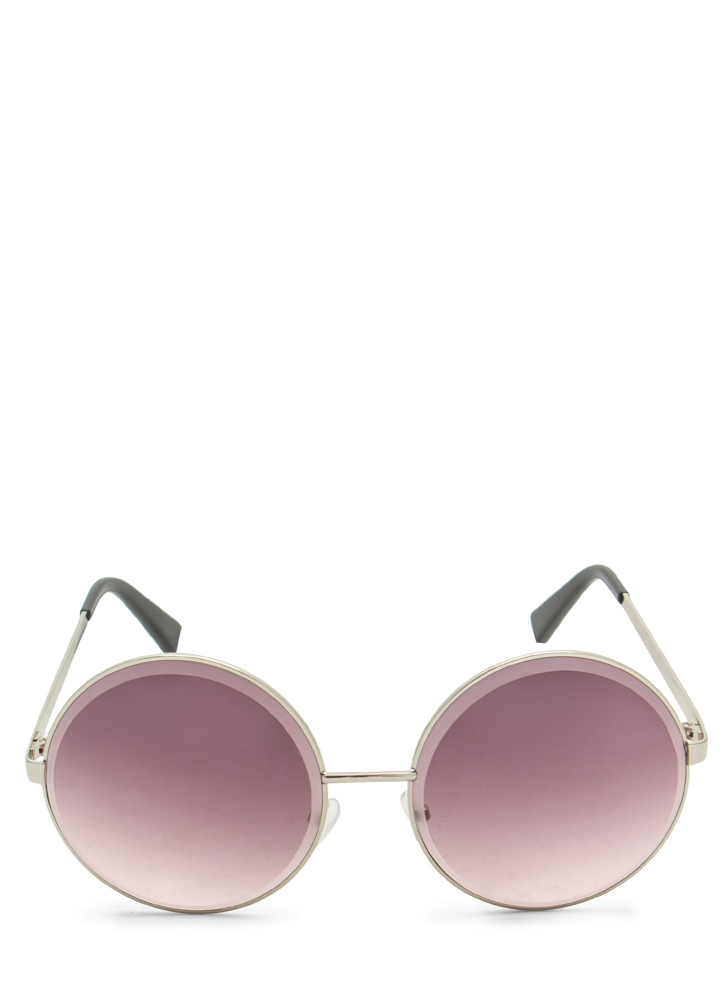 Round Metallic Wire Frame Sunglasses SILVERPURP