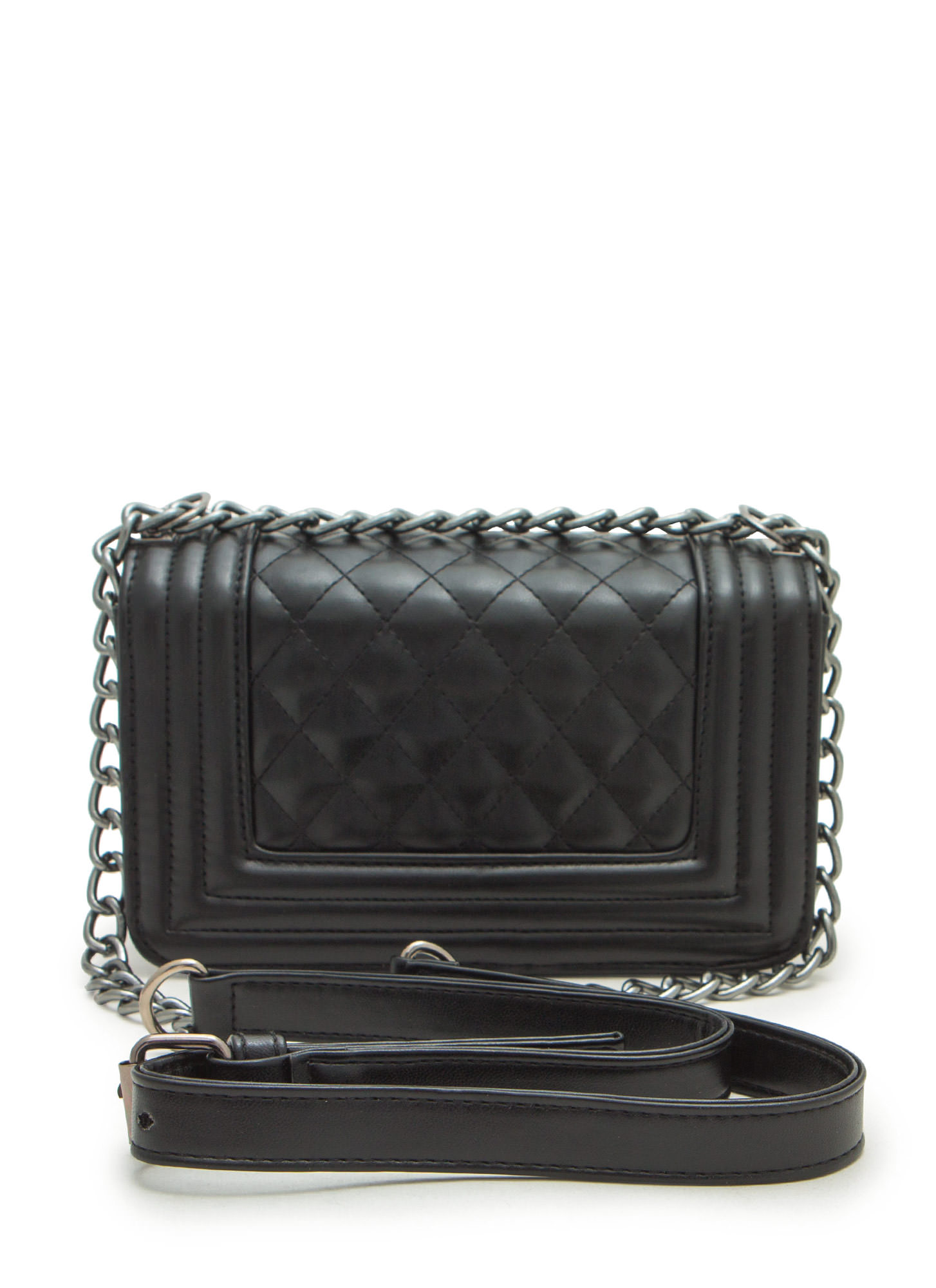 Stitch Quilted Faux Leather Purse BLACK