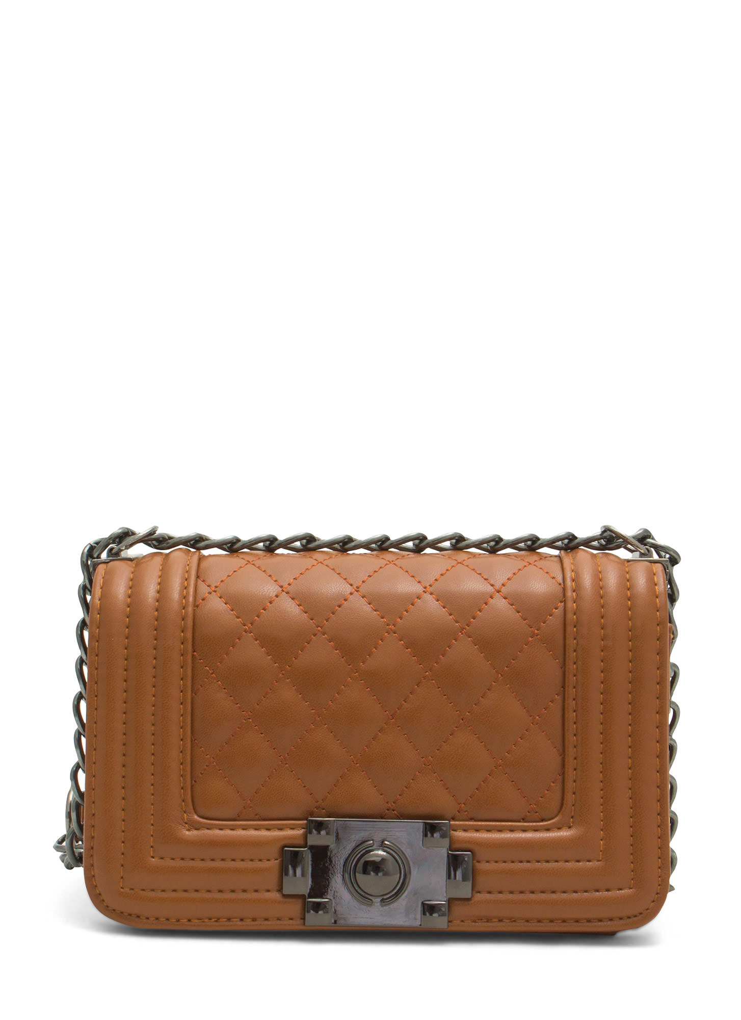 Stitch Quilted Faux Leather Purse BROWN