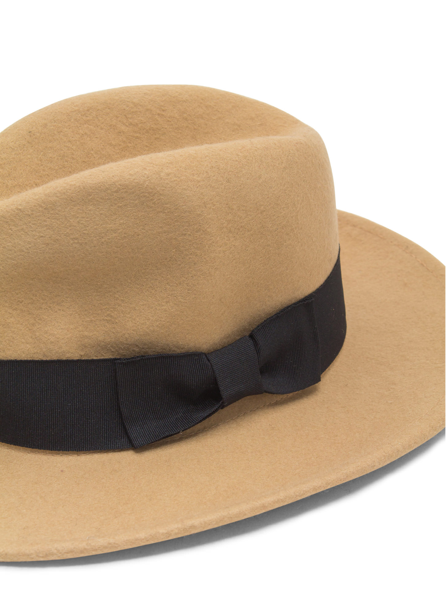 Ribbon Accent Wool Fedora  BEIGE