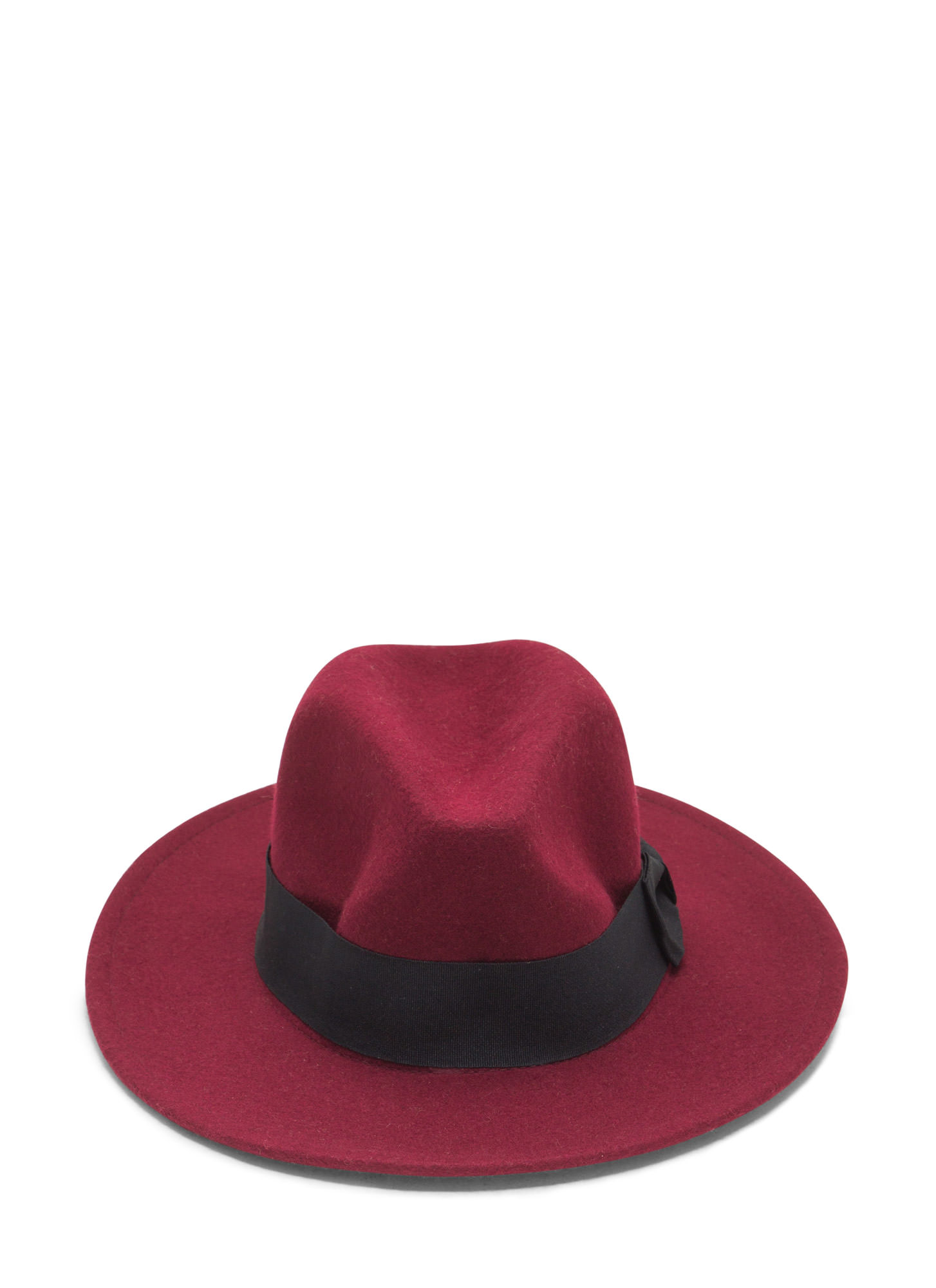 Ribbon Accent Wool Fedora  BURGUNDY