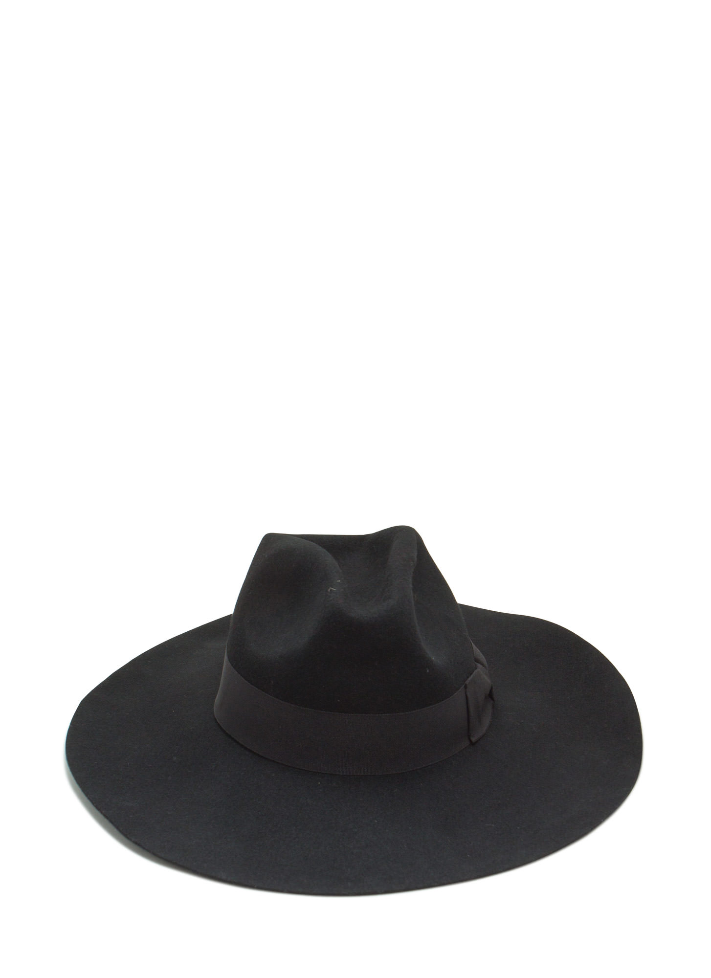 Wide Brim Wool Fedora BLACK