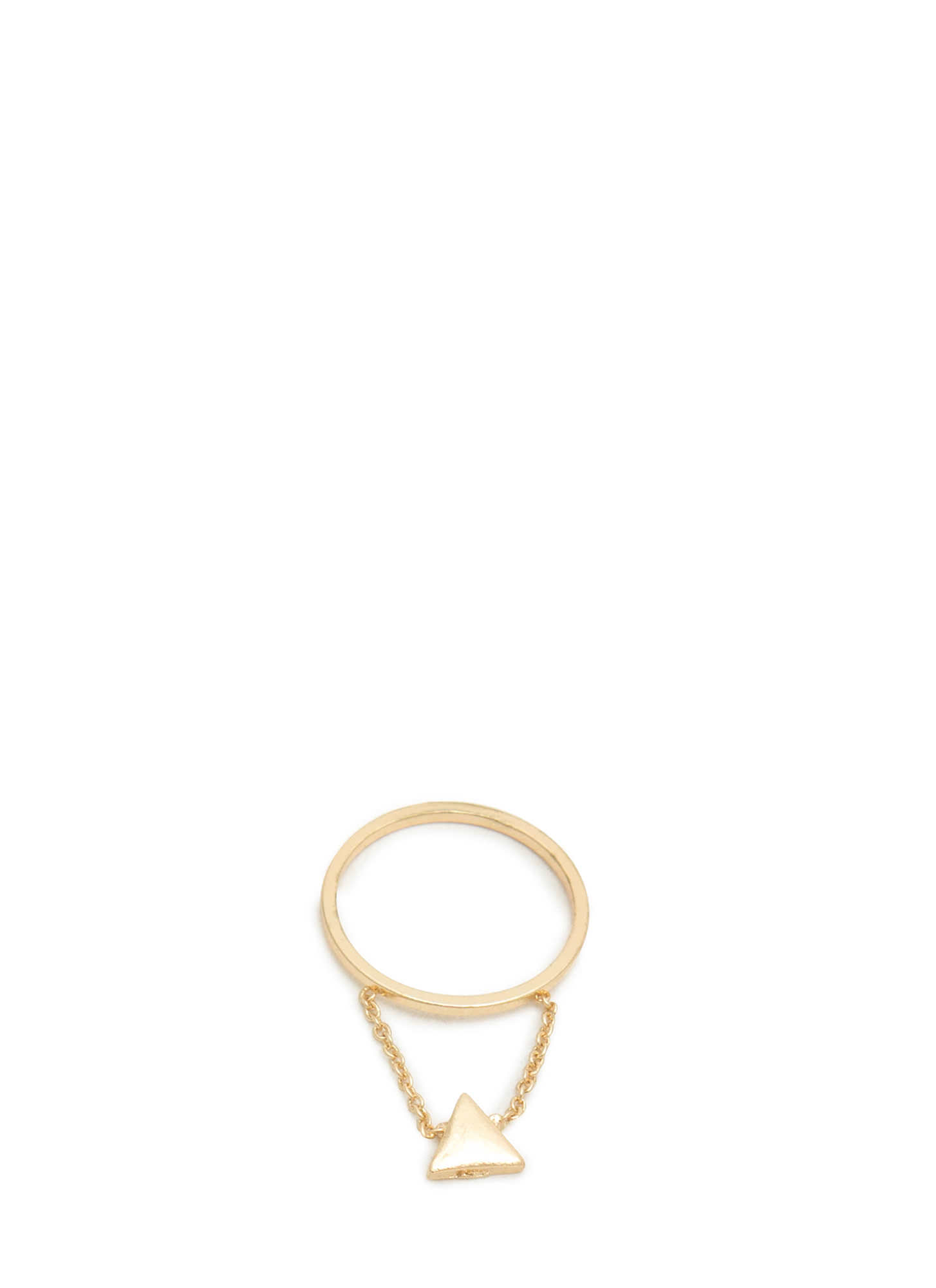 Dangling Triangle Charm Midi Ring GOLD