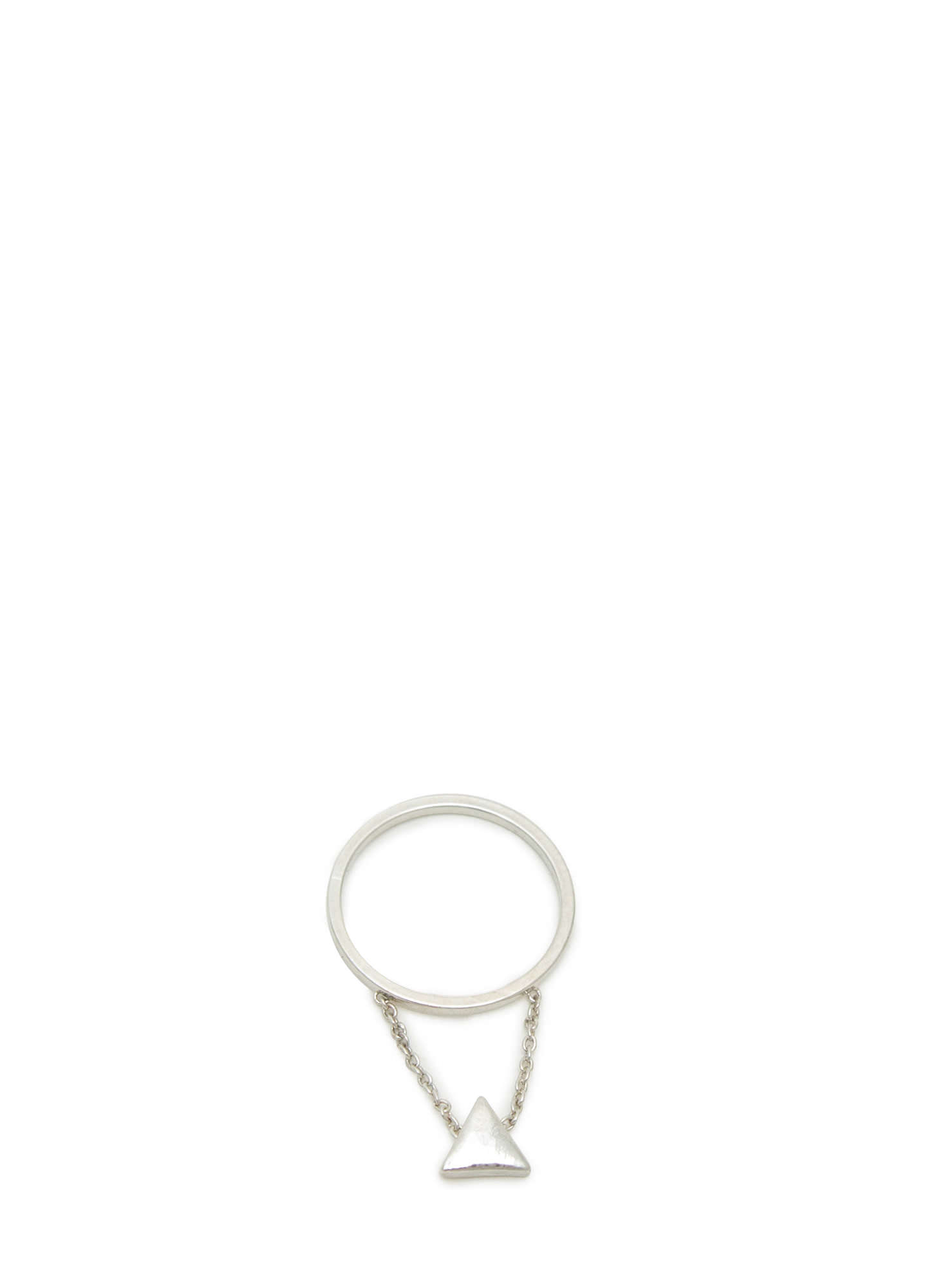 Dangling Triangle Charm Midi Ring SILVER