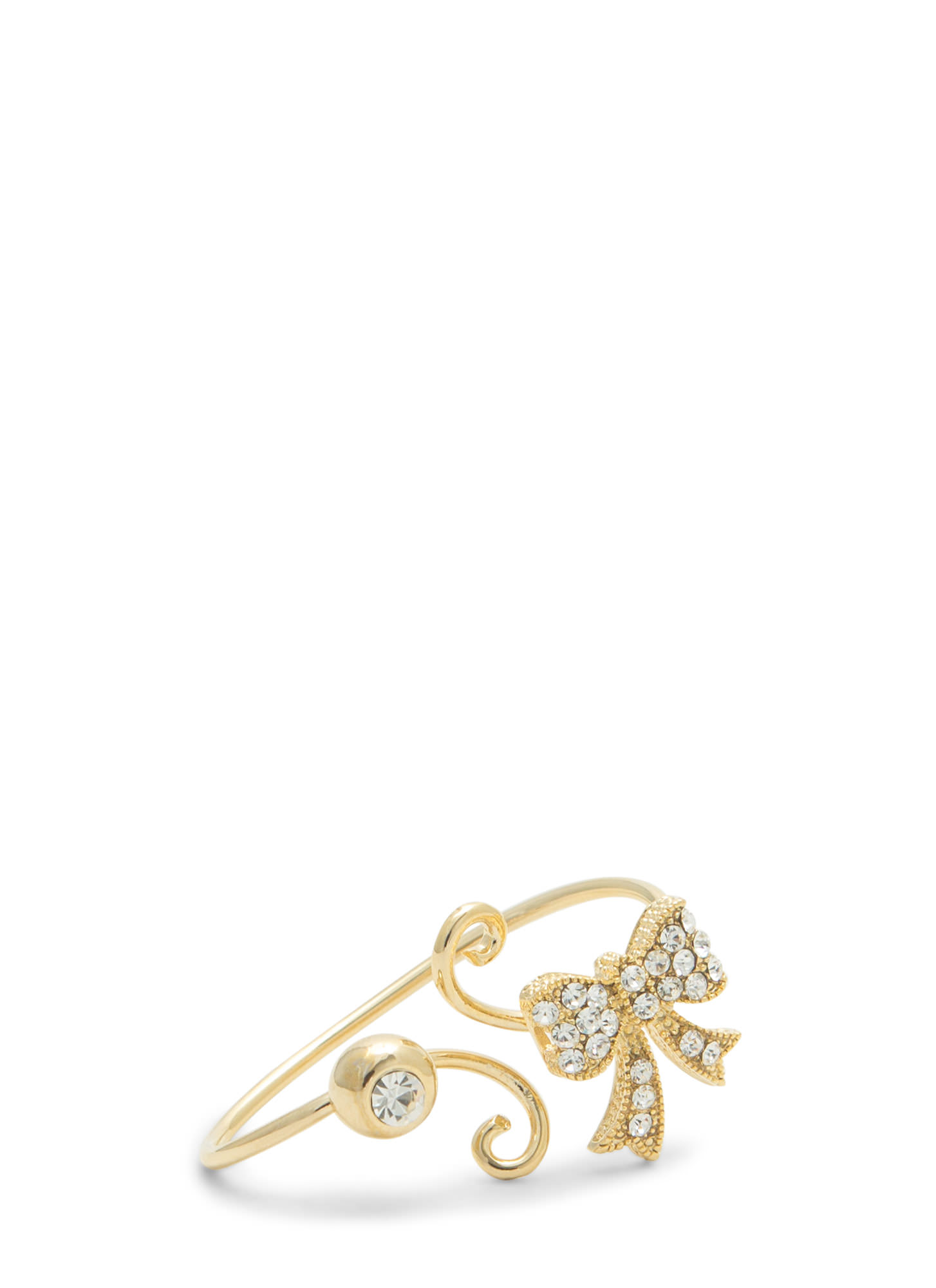 Rhinestone Bow Two-Finger Ring GOLDCLEAR