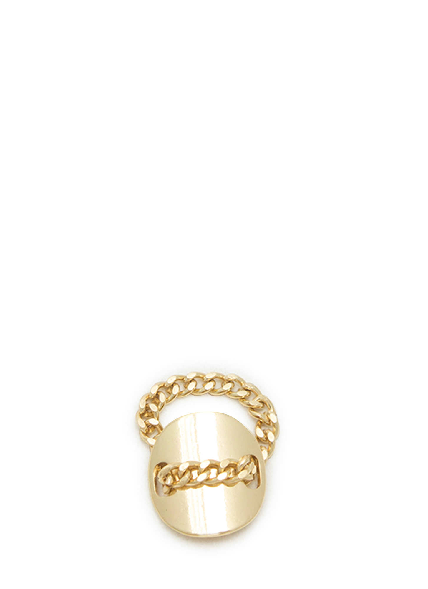 Metal Chain 'N Circular Plate Ring GOLD