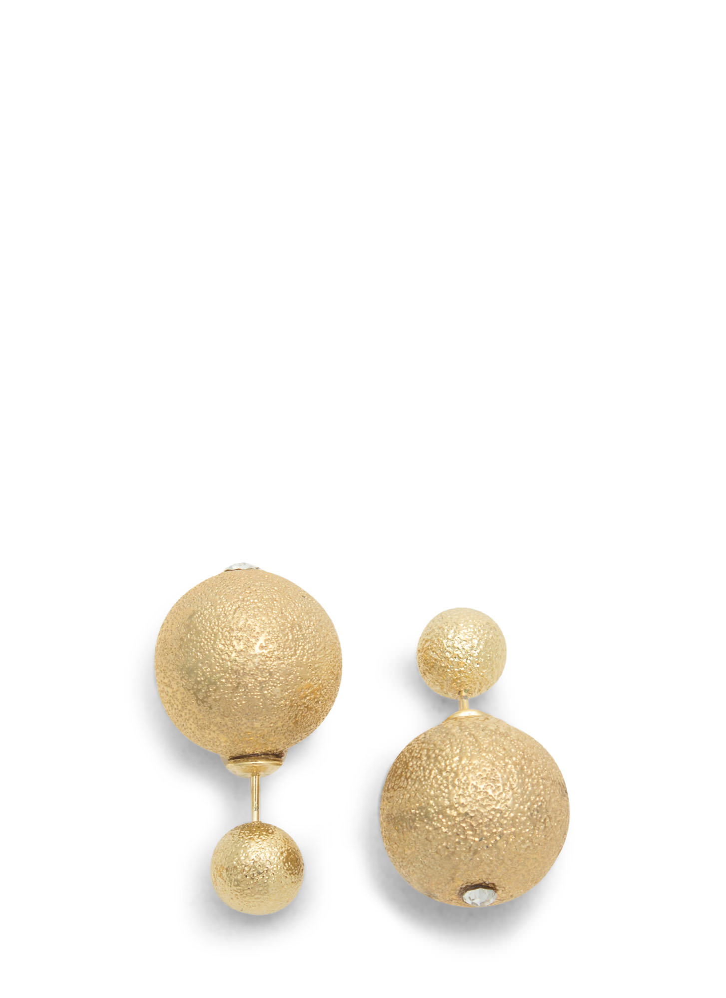 Double Disco Ball Backdrop Earrings GOLD