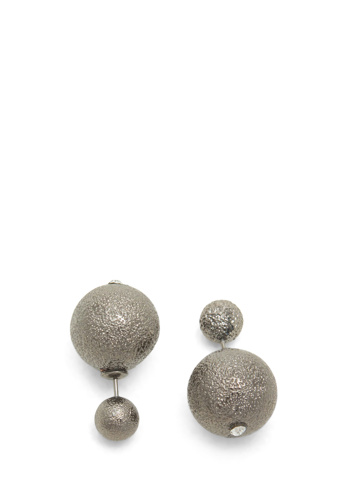 Double Disco Ball Backdrop Earrings PEWTER