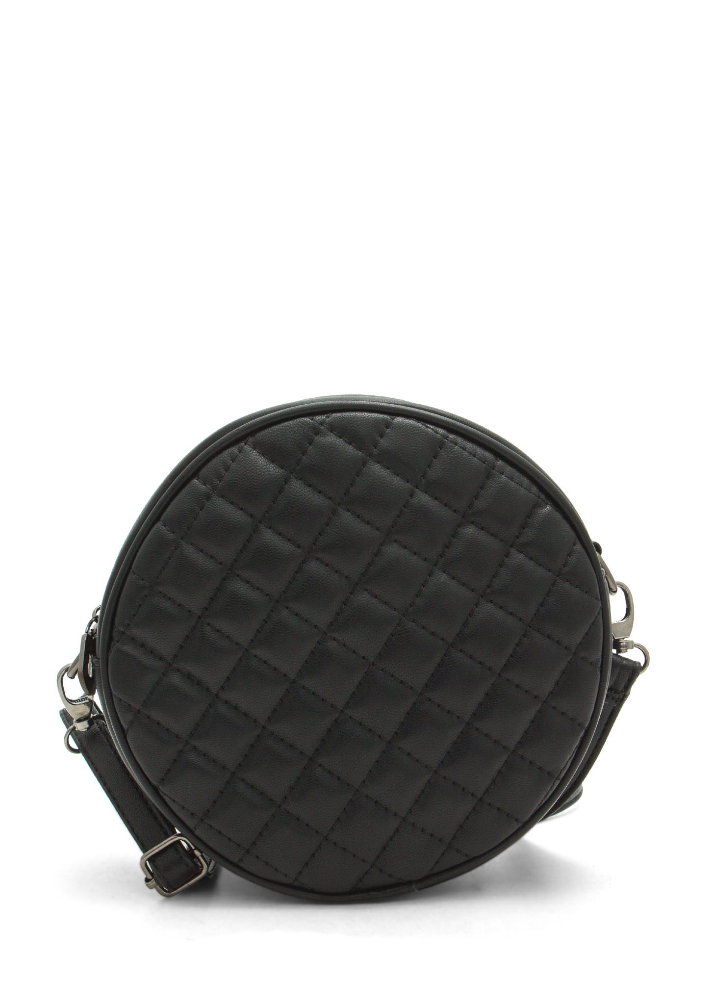 Shiny Round Quilted Clutch BLACK